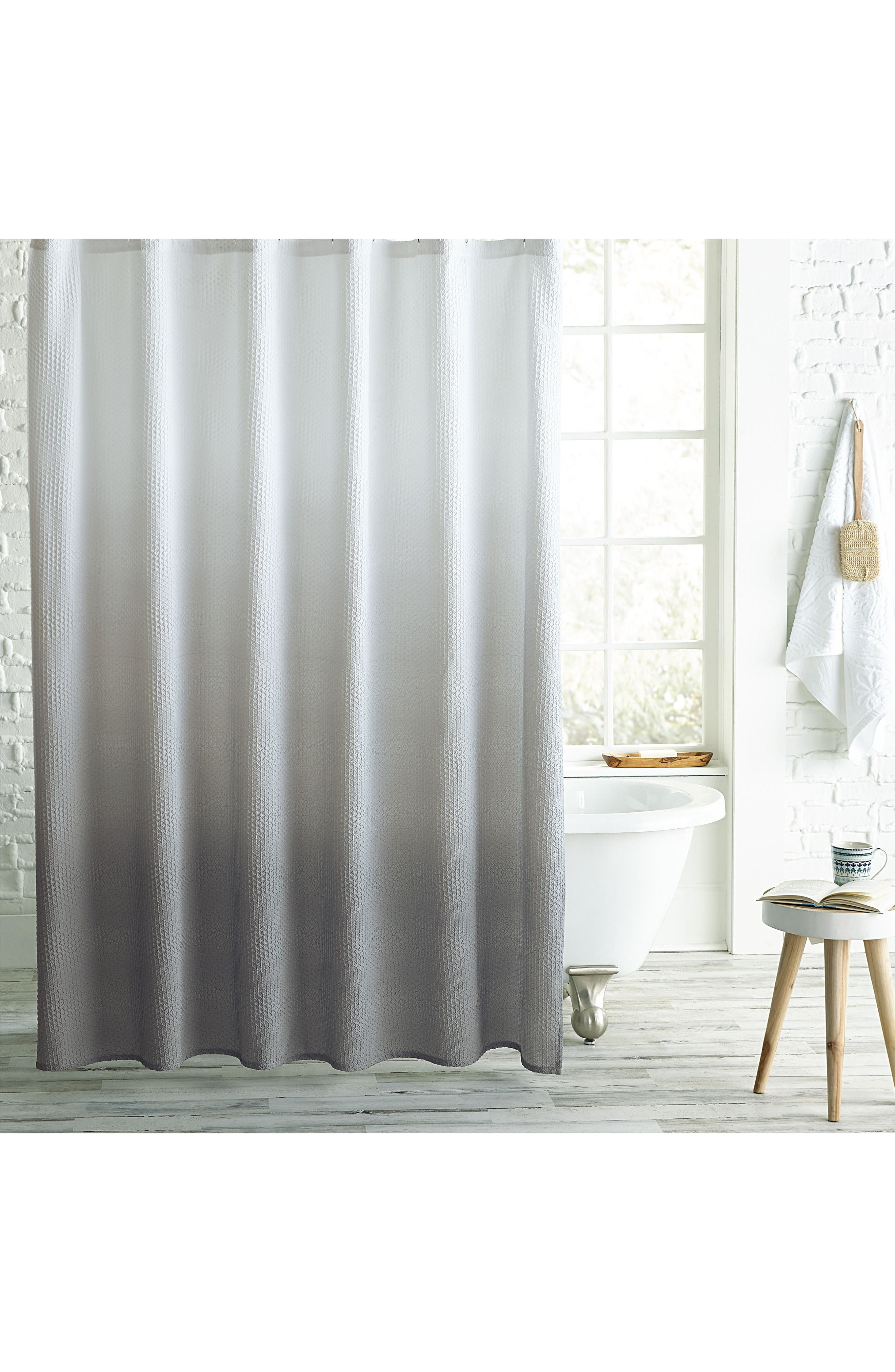 Ombré Microsculpt Shower Curtain,                             Main thumbnail 1, color,                             GREY