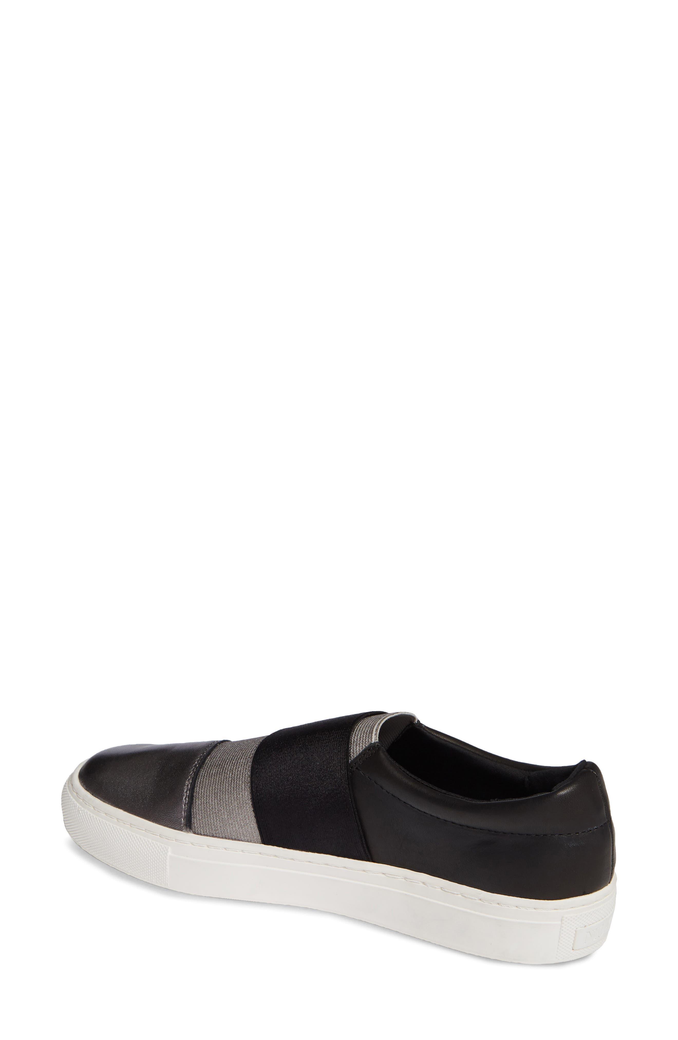 Isla Slip-On Sneaker,                             Alternate thumbnail 2, color,                             GUNMETAL/ BLACK LEATHER