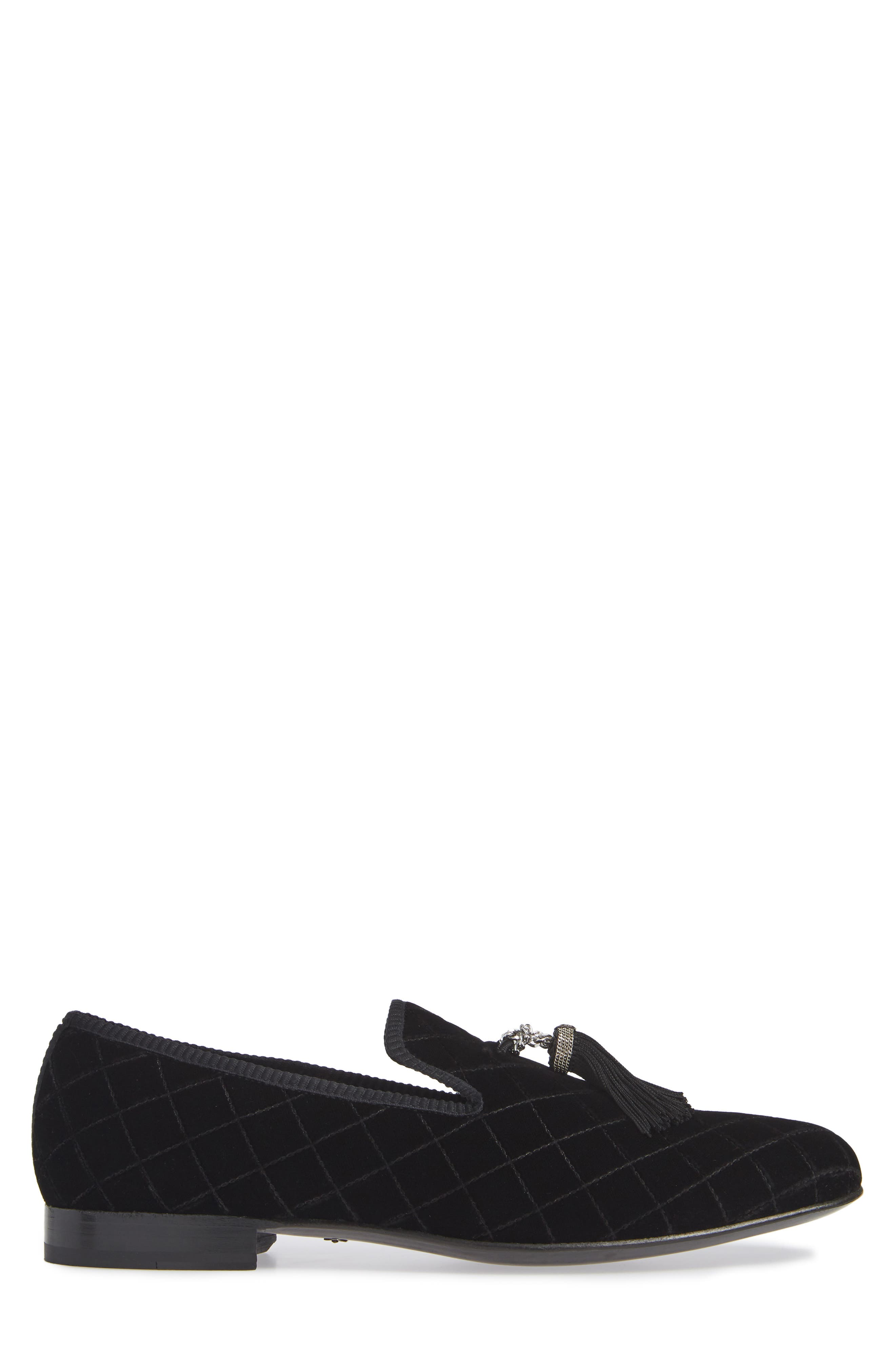 Quilted Tassel Loafer,                             Alternate thumbnail 3, color,                             BLACK FABRIC