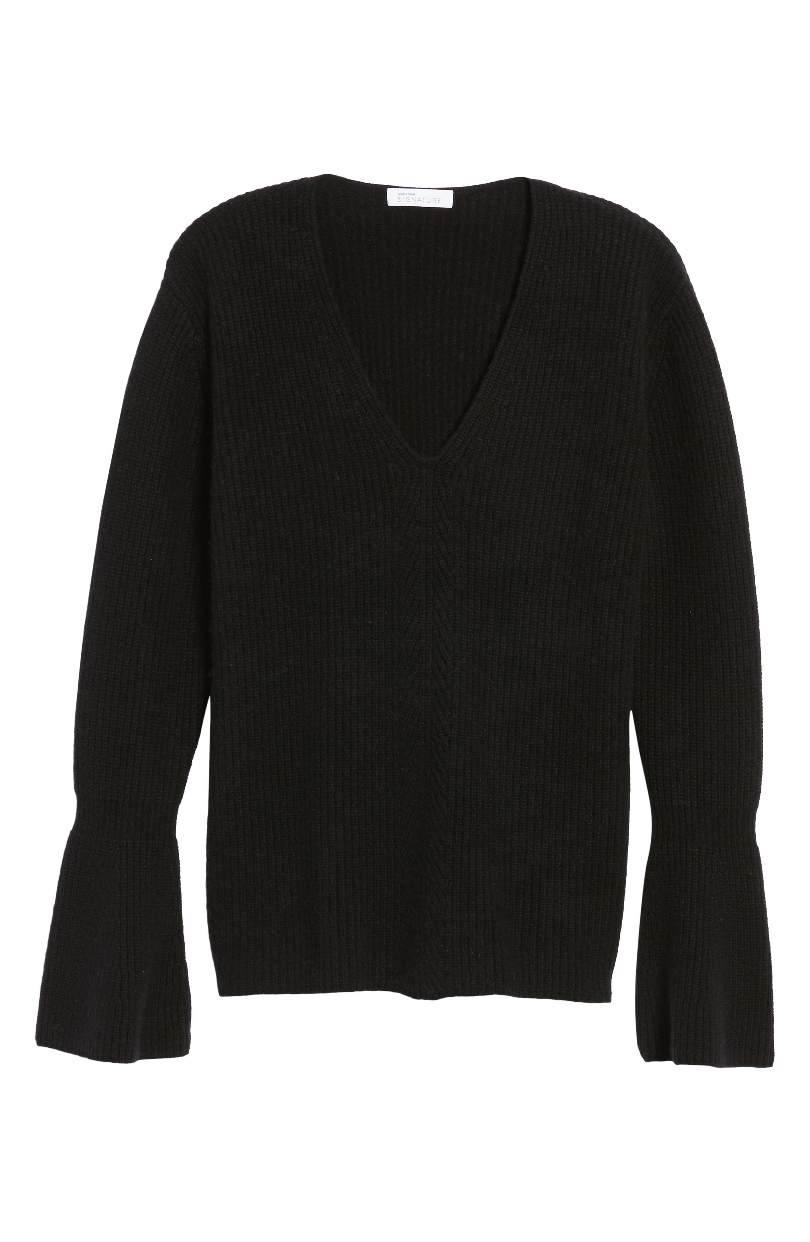 Rib Knit Cashmere Bell Sleeve Sweater,                             Alternate thumbnail 6, color,                             001