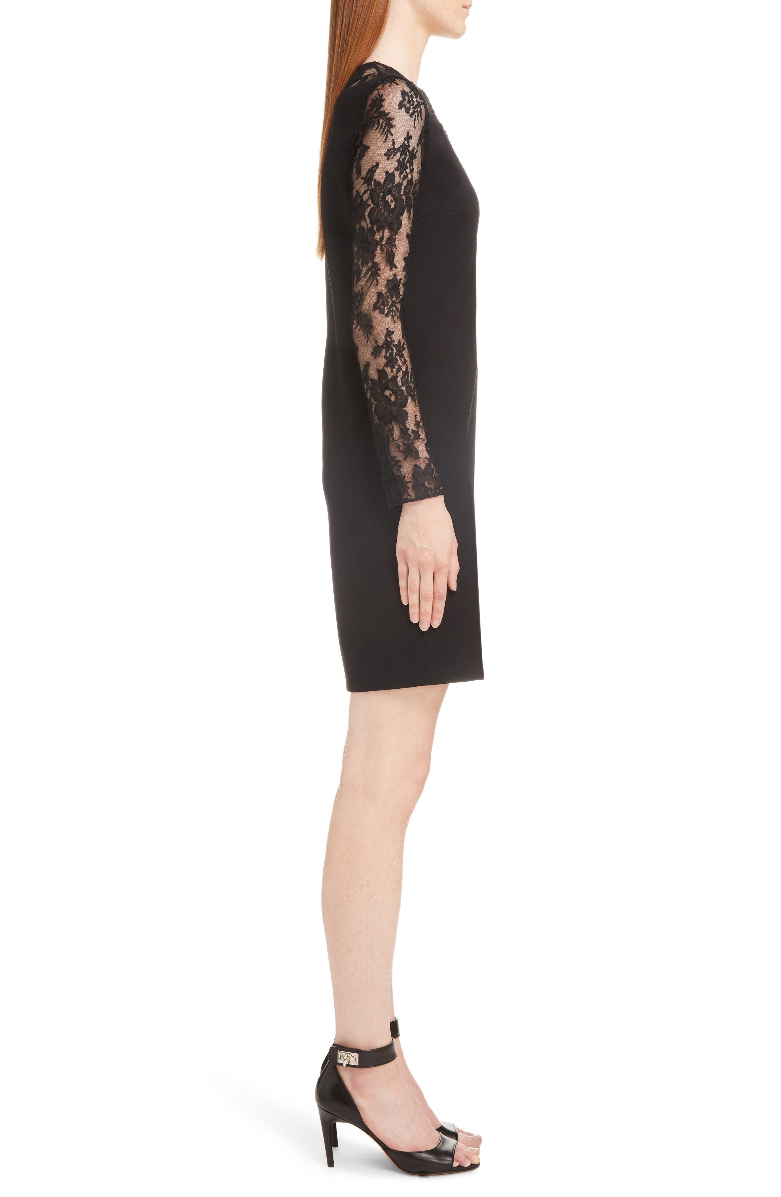 Lace Illusion Dress,                             Alternate thumbnail 3, color,                             001-BLACK
