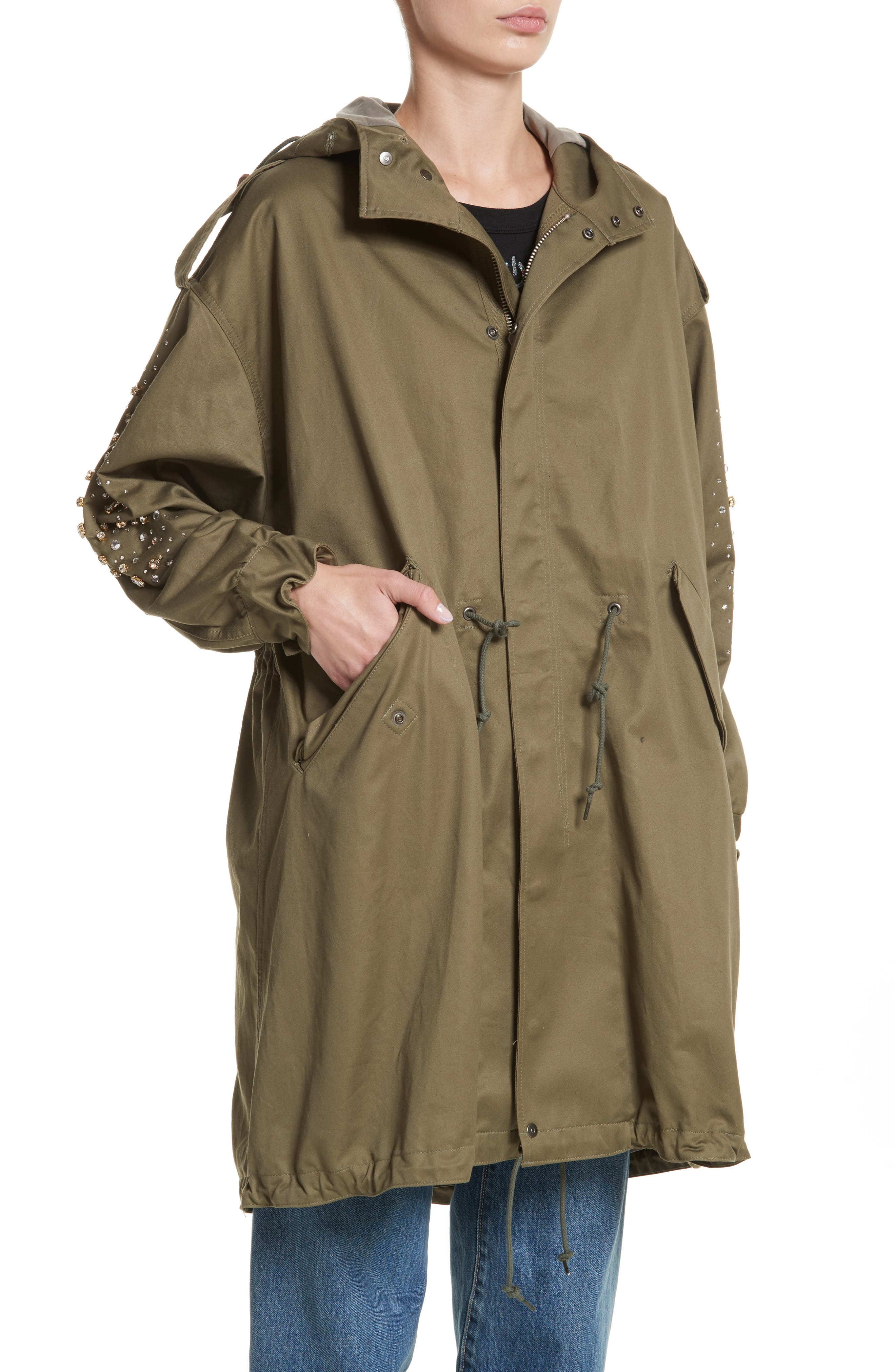 Tu es mon TRESOR Stardust Elbow Parka,                             Alternate thumbnail 4, color,                             KHAKI KHAK
