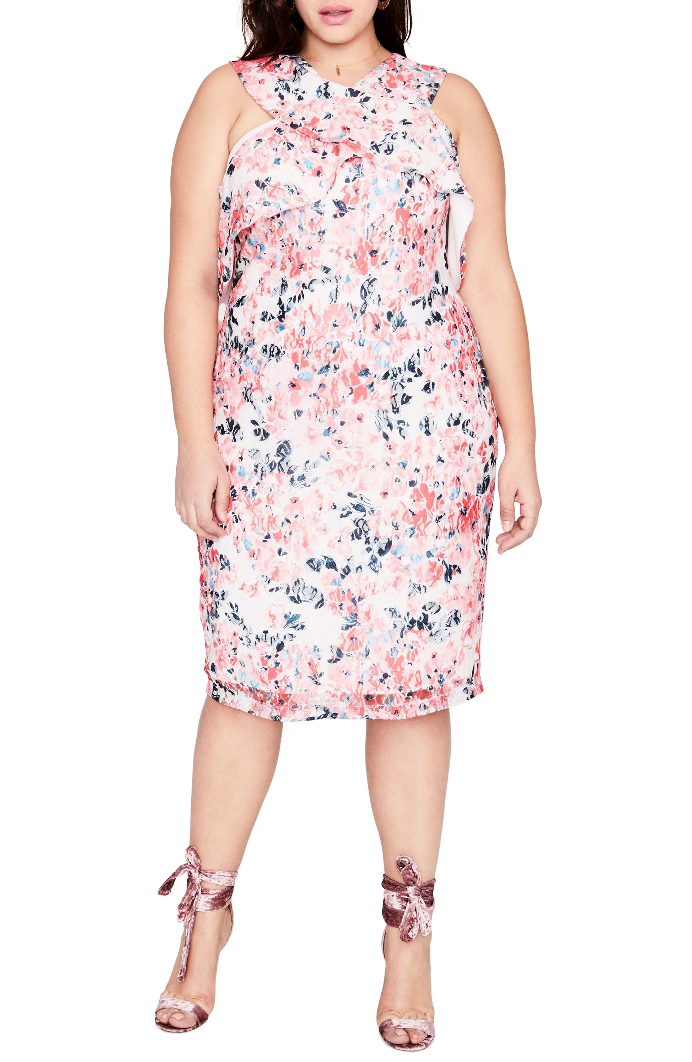 Print Off the Shoulder Lace Dress,                             Main thumbnail 1, color,                             691