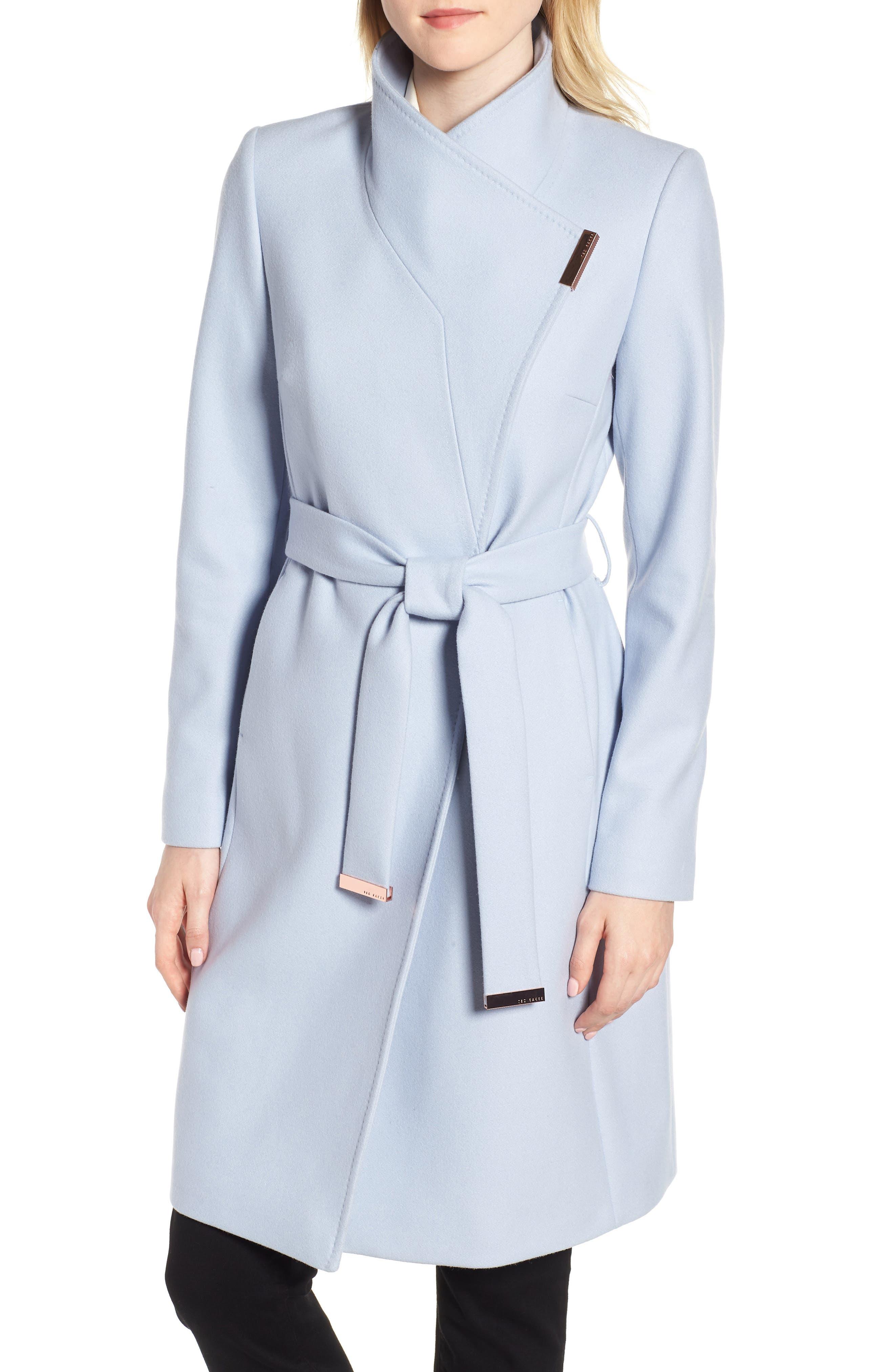 Wool Blend Long Wrap Coat,                         Main,                         color, POWDER BLUE