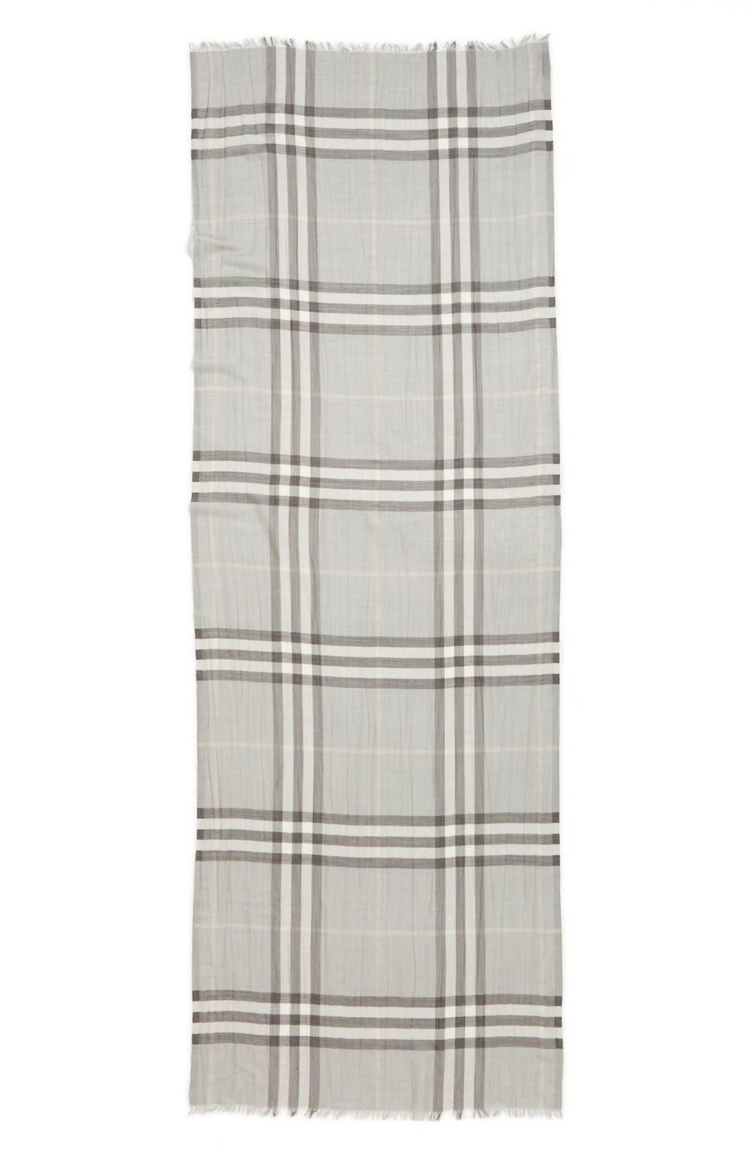 Giant Check Print Wool & Silk Scarf,                             Alternate thumbnail 125, color,