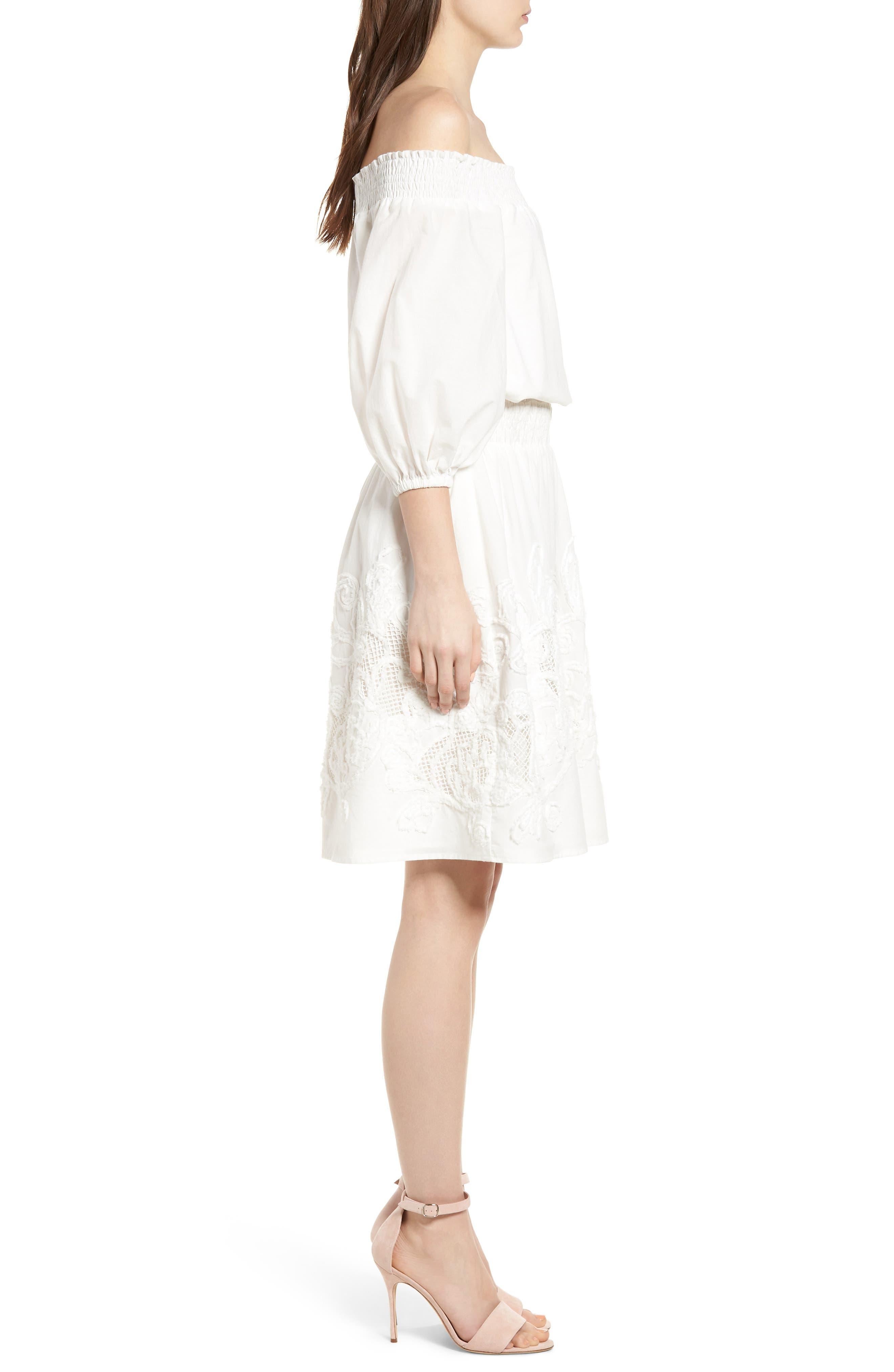 Embroidered Off the Shoulder Blouson Dress,                             Alternate thumbnail 3, color,                             100