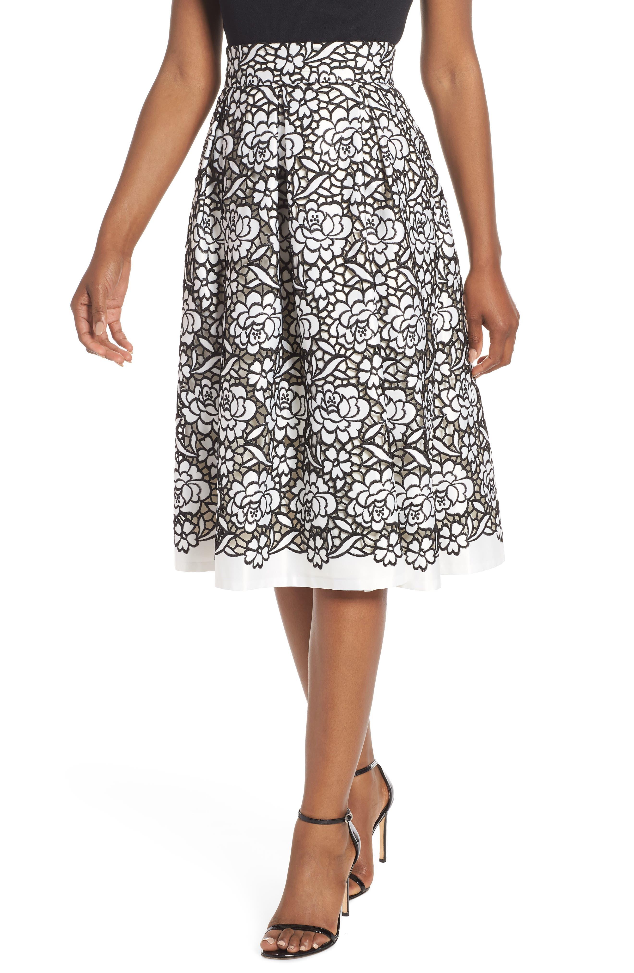 Pleated Floral Cutout Appliqué Skirt,                         Main,                         color, BLACK/IVORY