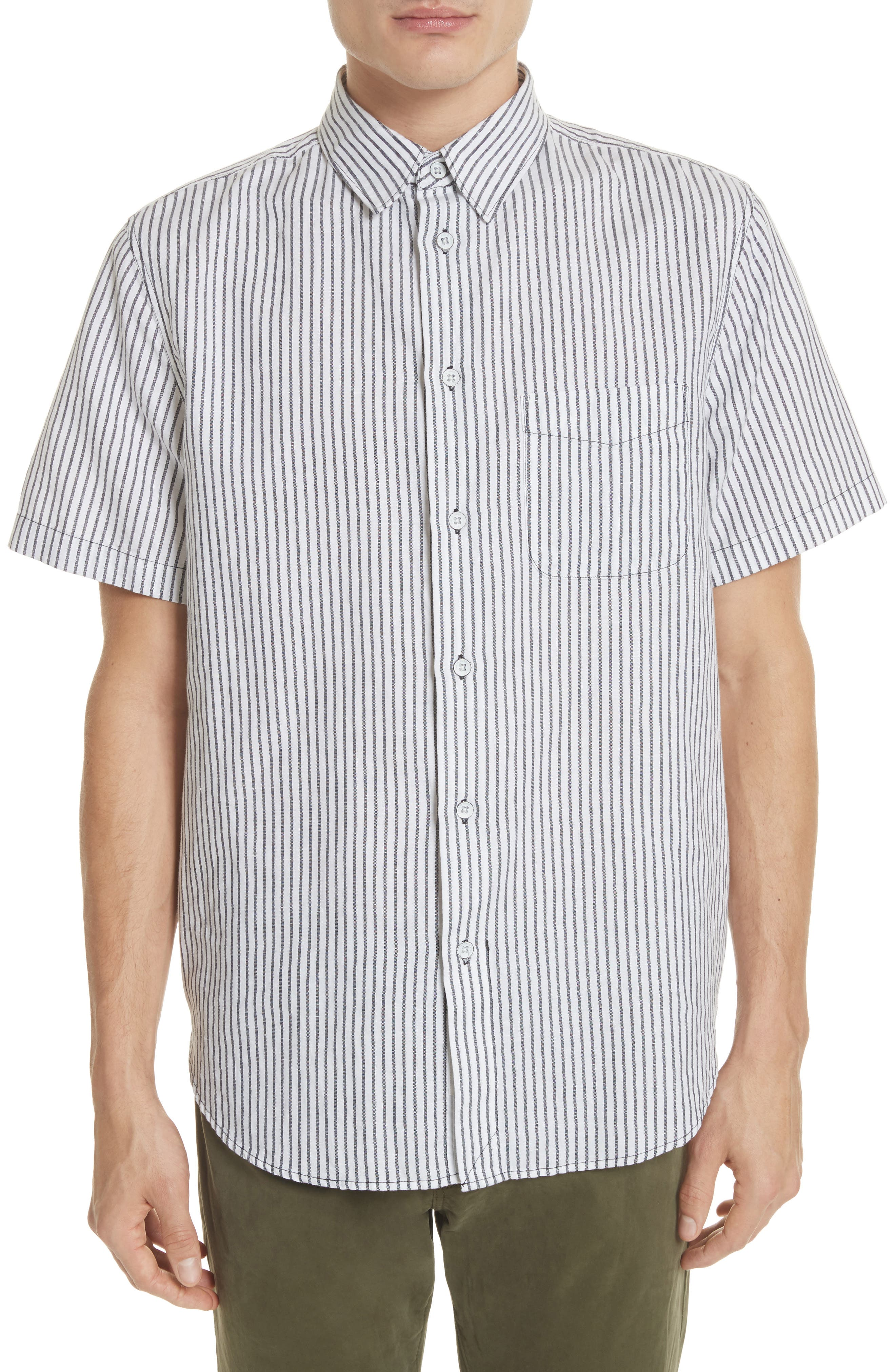 Stripe Short Sleeve Sport Shirt,                         Main,                         color, 195