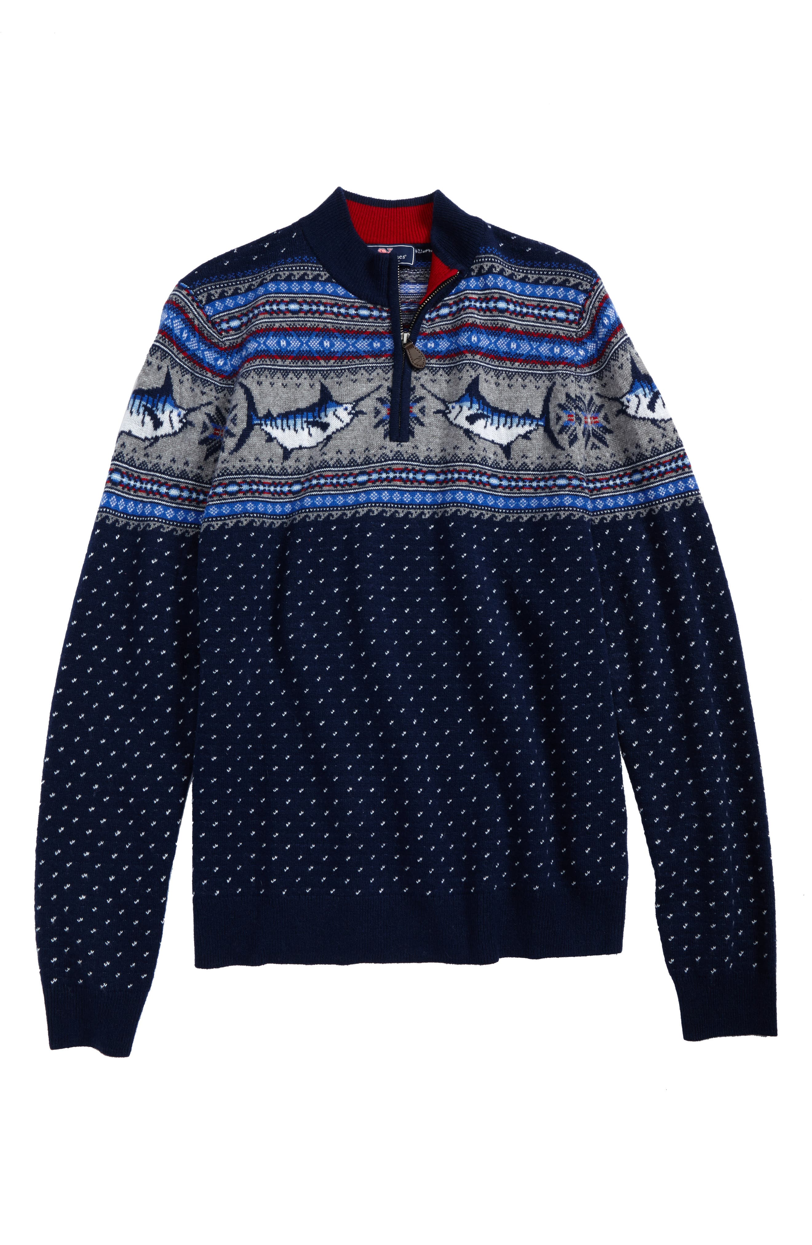 Marlin Whale Intarsia Quarter Zip Sweater,                         Main,                         color,