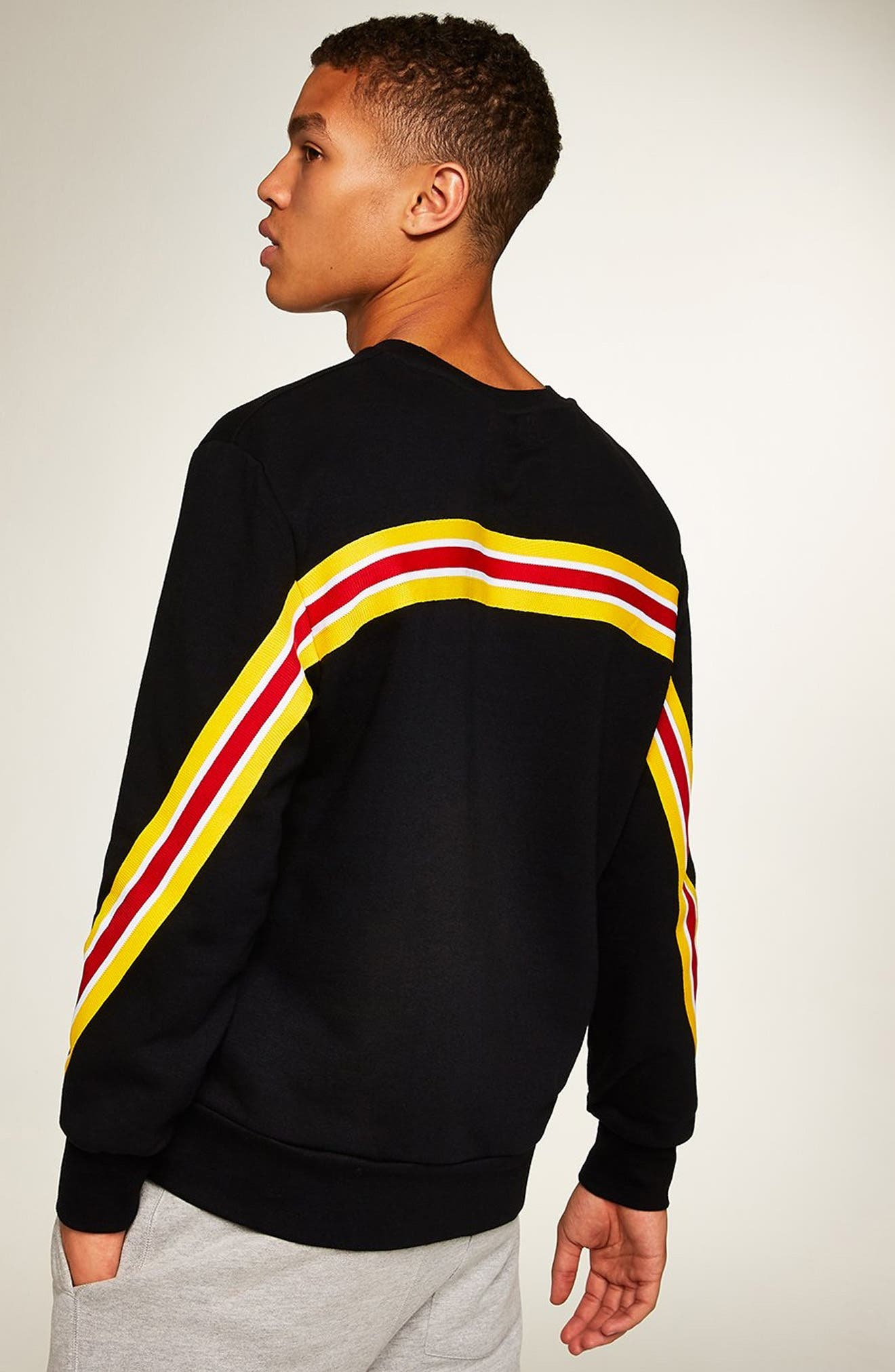 Back Taping Classic Fit Sweatshirt,                             Alternate thumbnail 5, color,                             BLACK MULTI