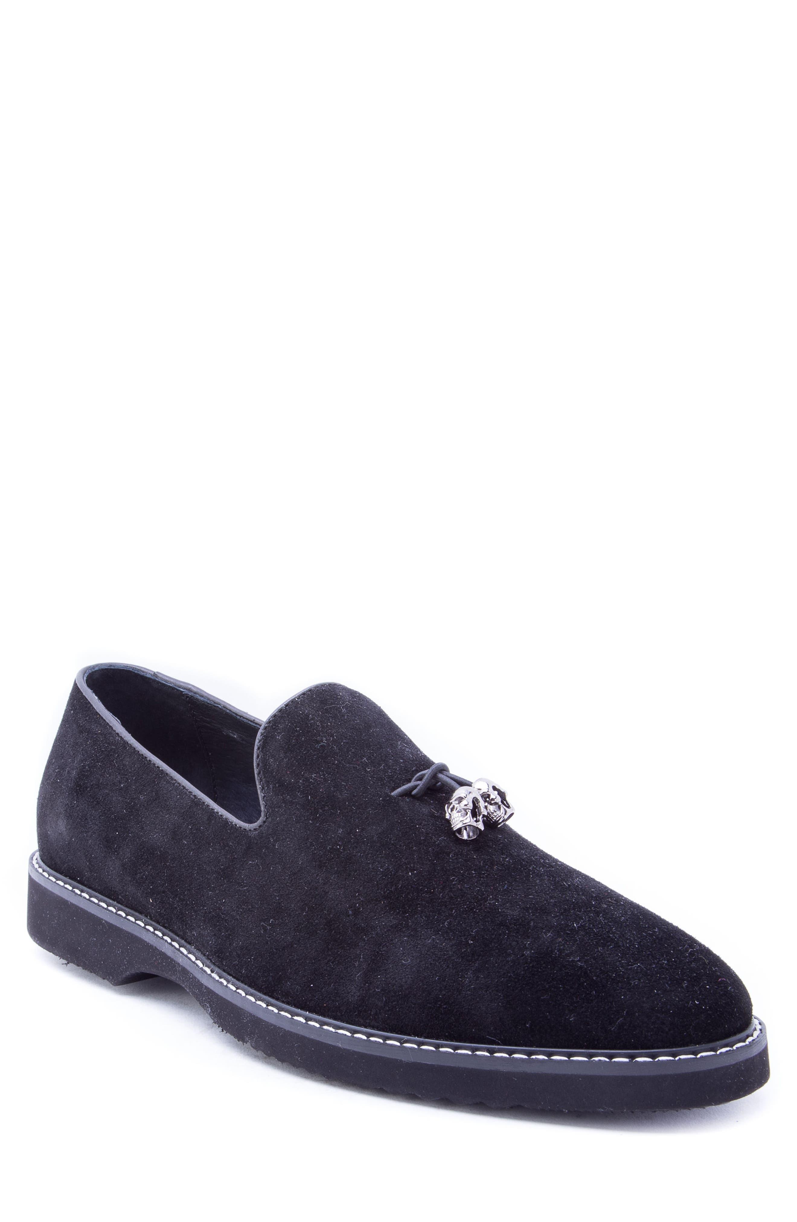 Badgley Mischka Heston Tassel Loafer,                         Main,                         color, BLACK SUEDE