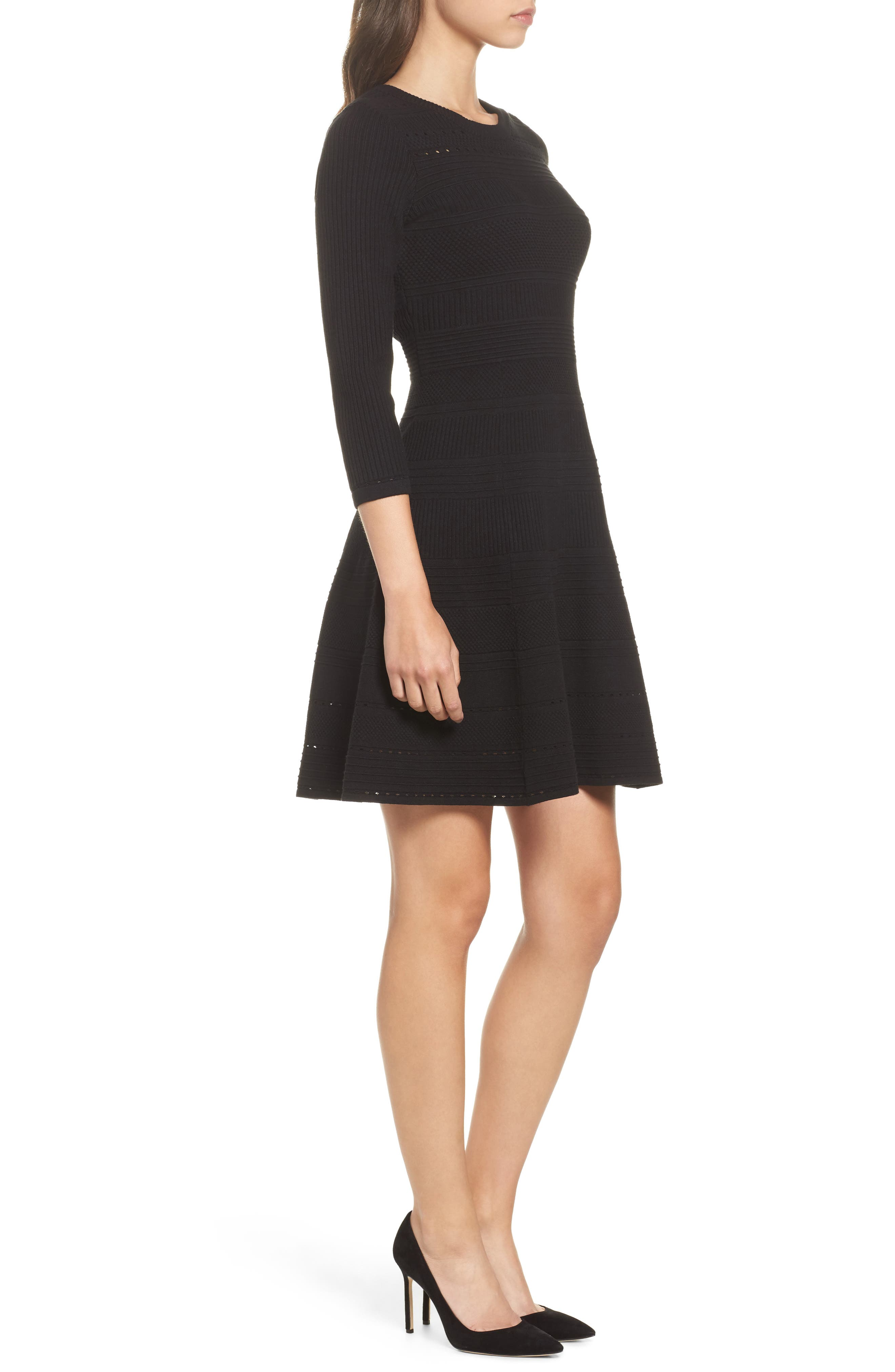 Fit & Flare Sweater Dress,                             Alternate thumbnail 3, color,                             BLACK