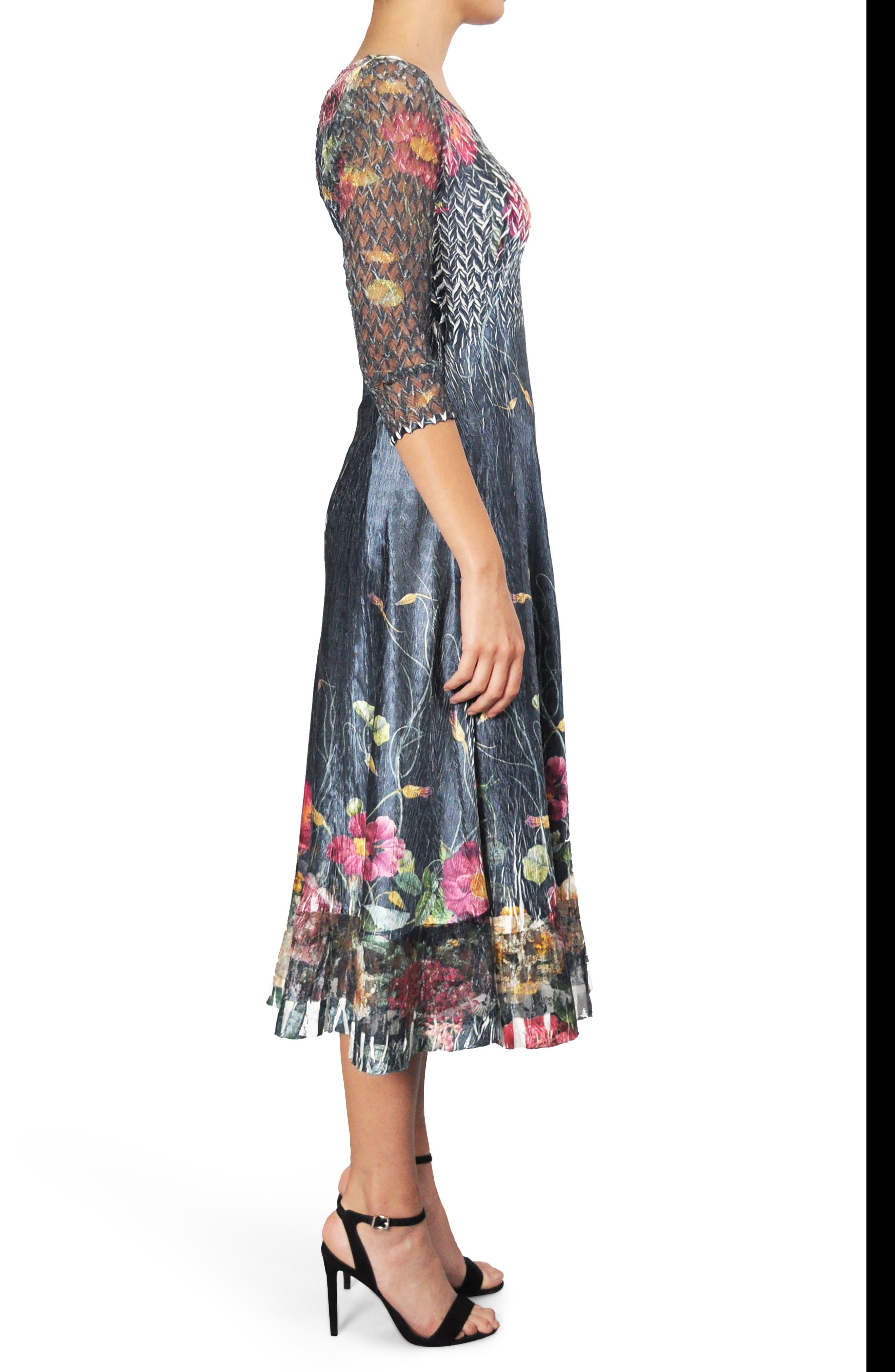 Print A-Line Midi Dress,                             Alternate thumbnail 3, color,                             409