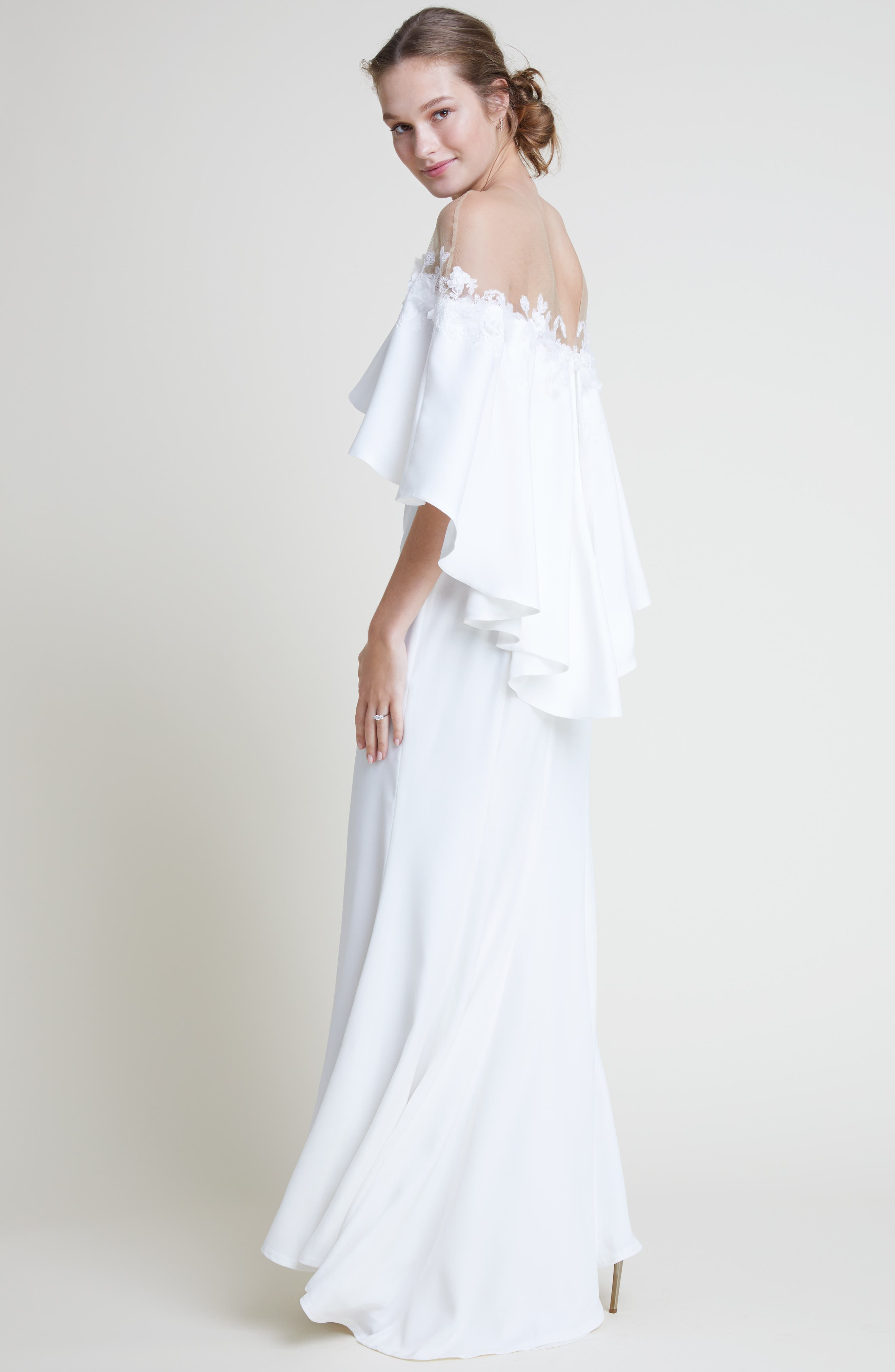 Off the Shoulder Popover Gown,                             Alternate thumbnail 10, color,                             IVORY