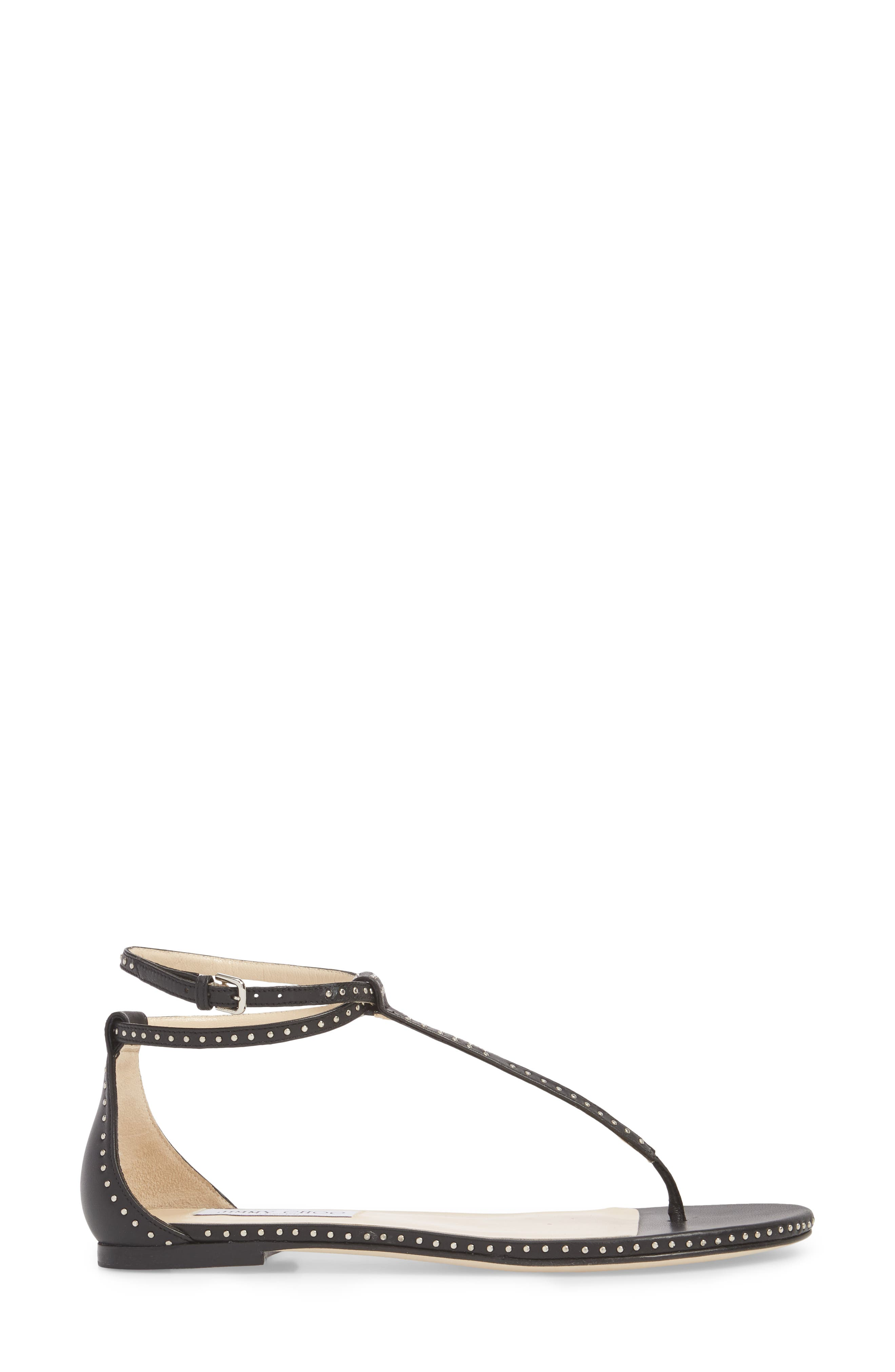 Afia Studded Flat Sandal,                             Alternate thumbnail 3, color,                             BLACK