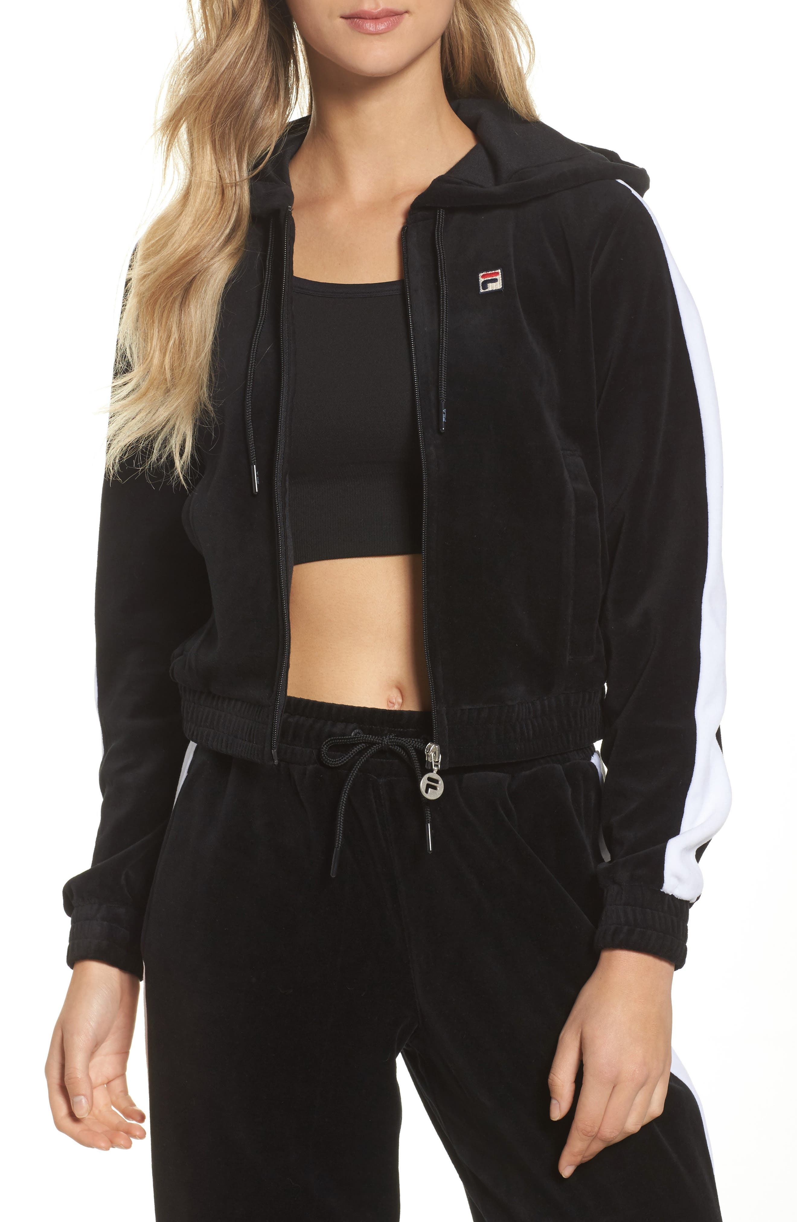 Carly Velour Hoodie,                             Main thumbnail 1, color,                             001