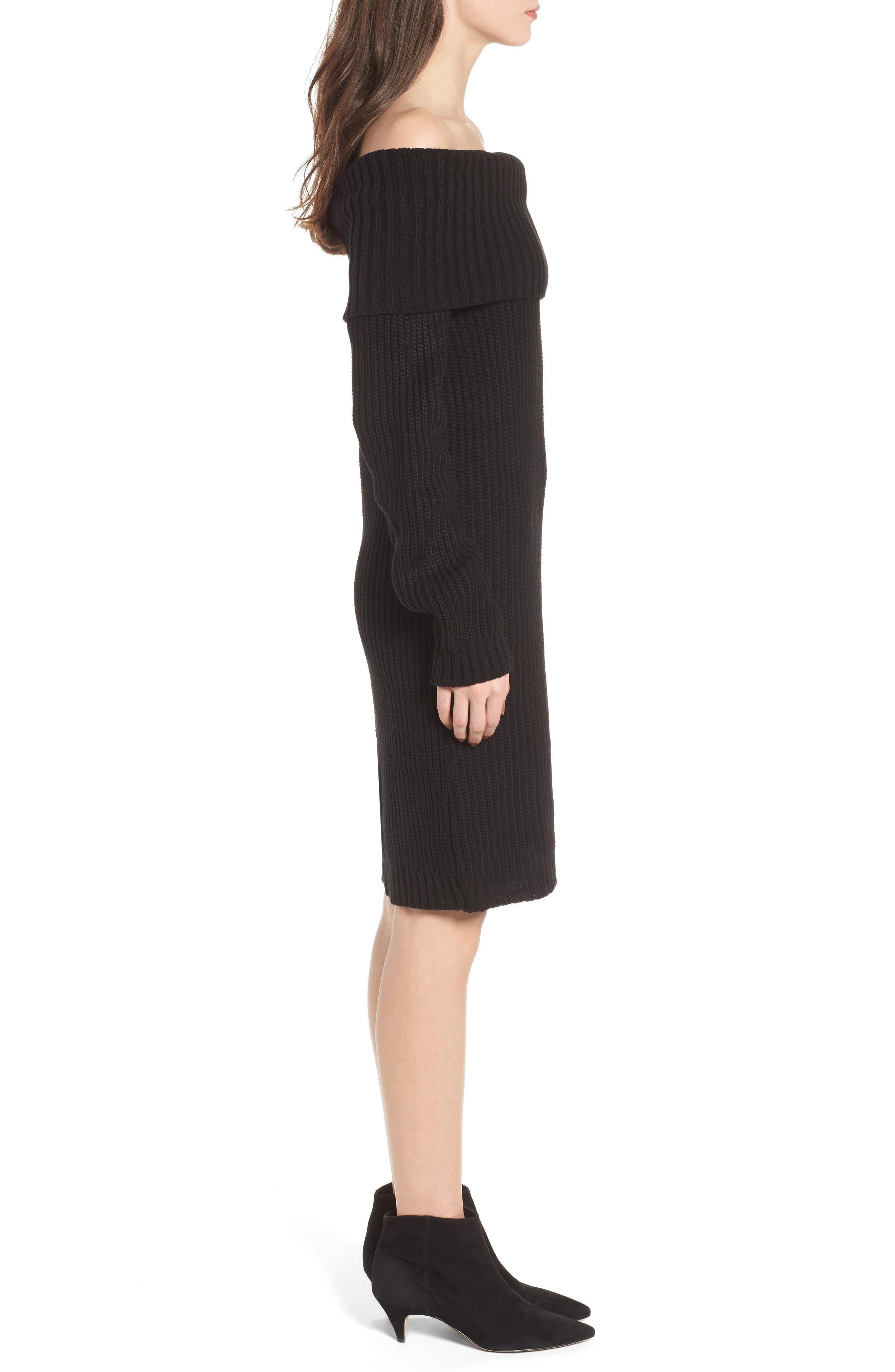 Foldover Off the Shoulder Sweater Dress,                             Alternate thumbnail 3, color,                             001