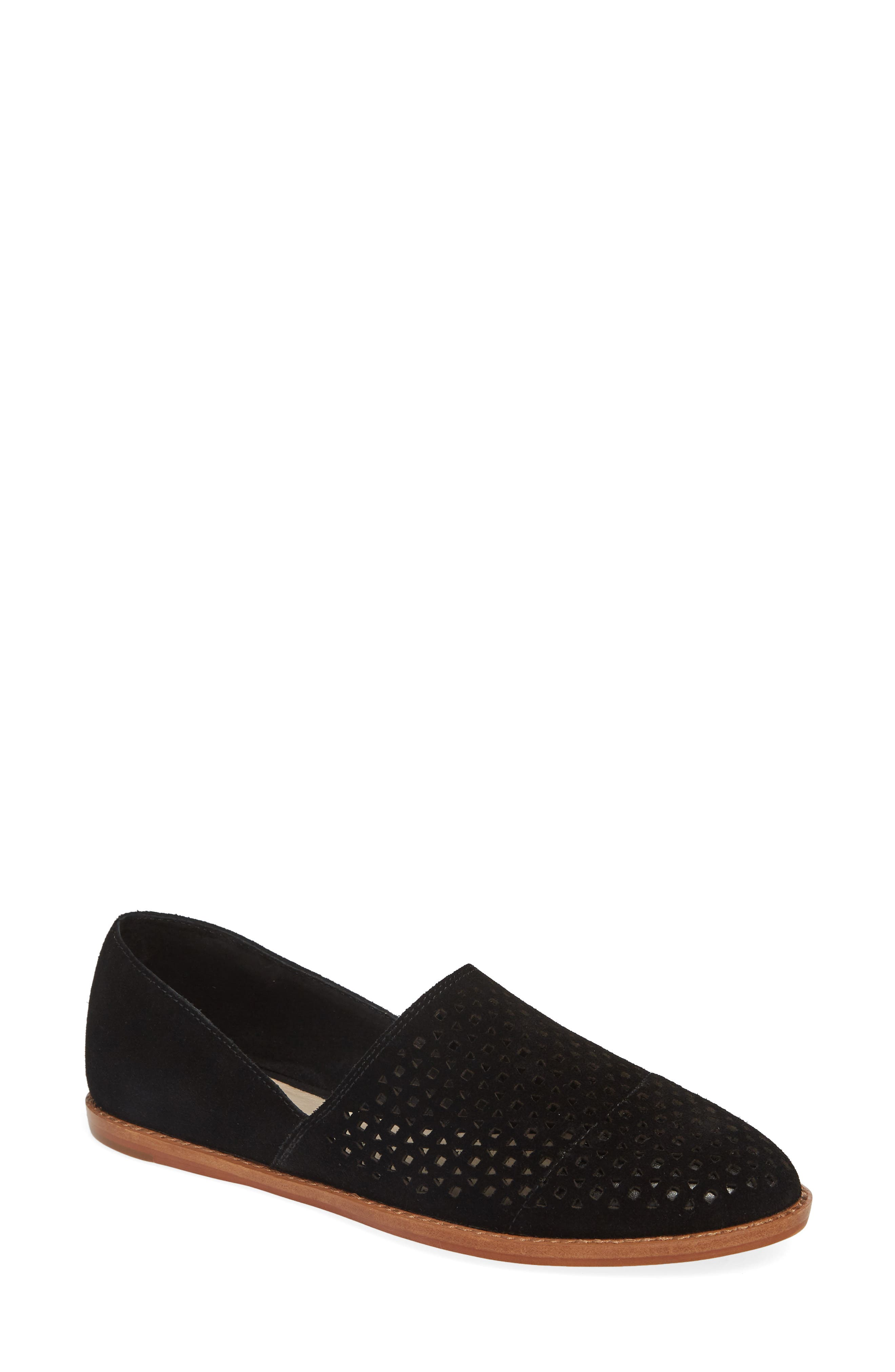 CASLON<SUP>®</SUP>,                             Adrian Perforated Flat,                             Main thumbnail 1, color,                             BLACK SUEDE