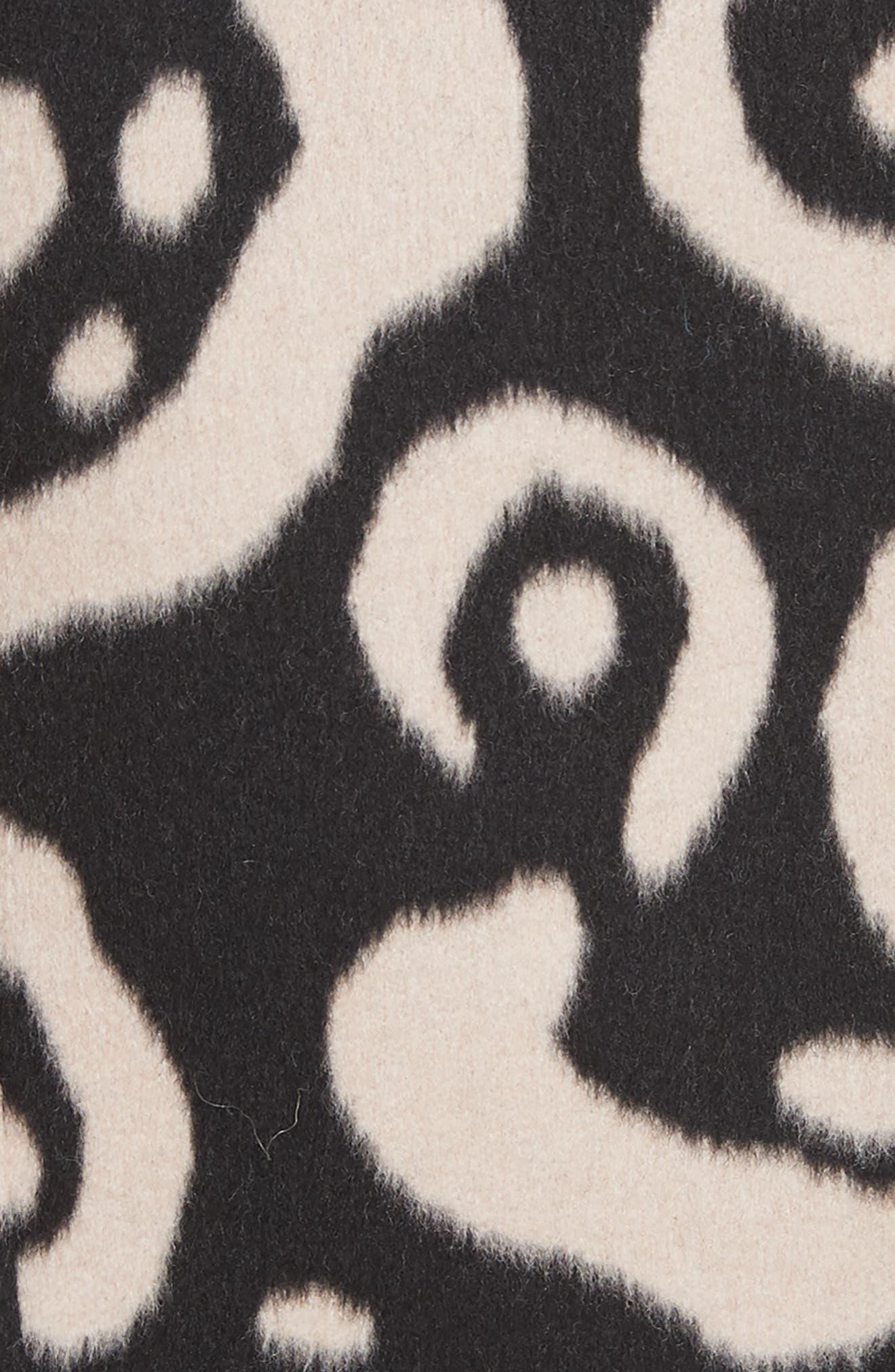 Driss Leopard Print Wool Blend Coat,                             Alternate thumbnail 5, color,                             001