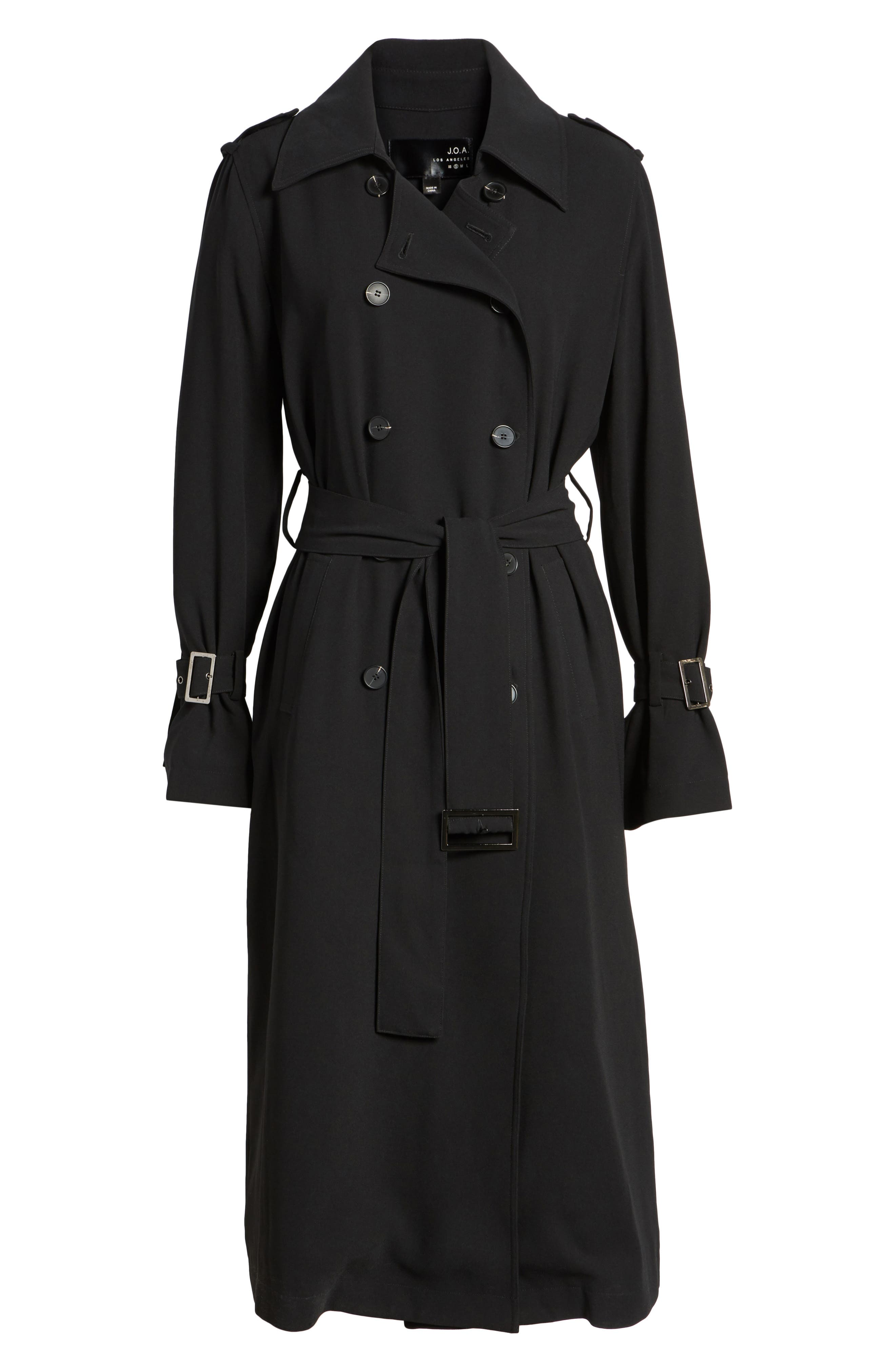 Long Trench Coat,                             Alternate thumbnail 5, color,                             001