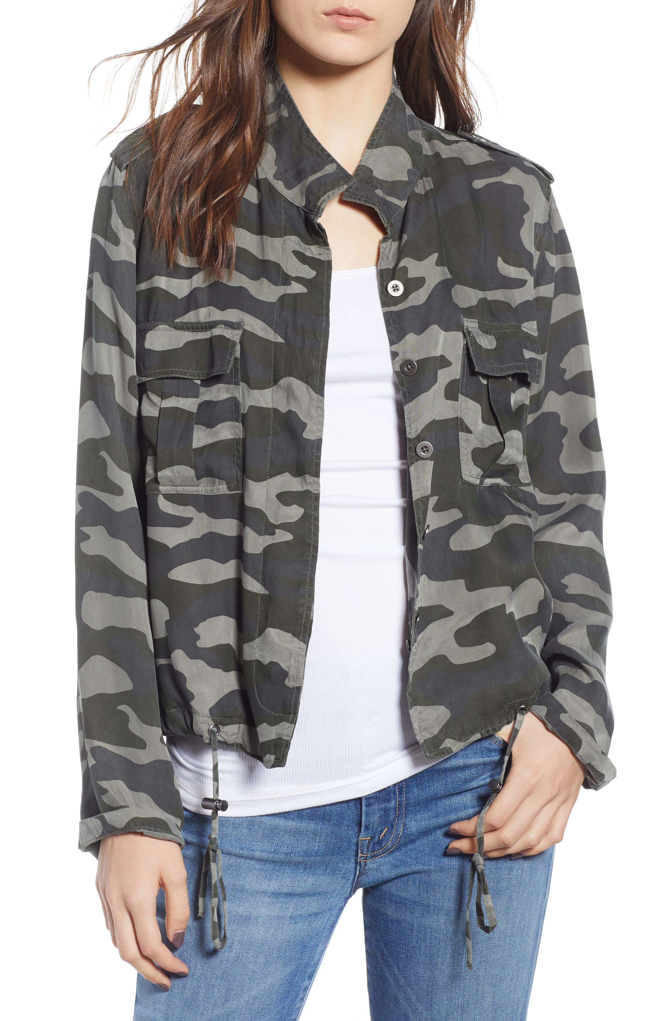 Rowen Button-Front Camo-Print Linen-Blend Jacket in Forest Camo