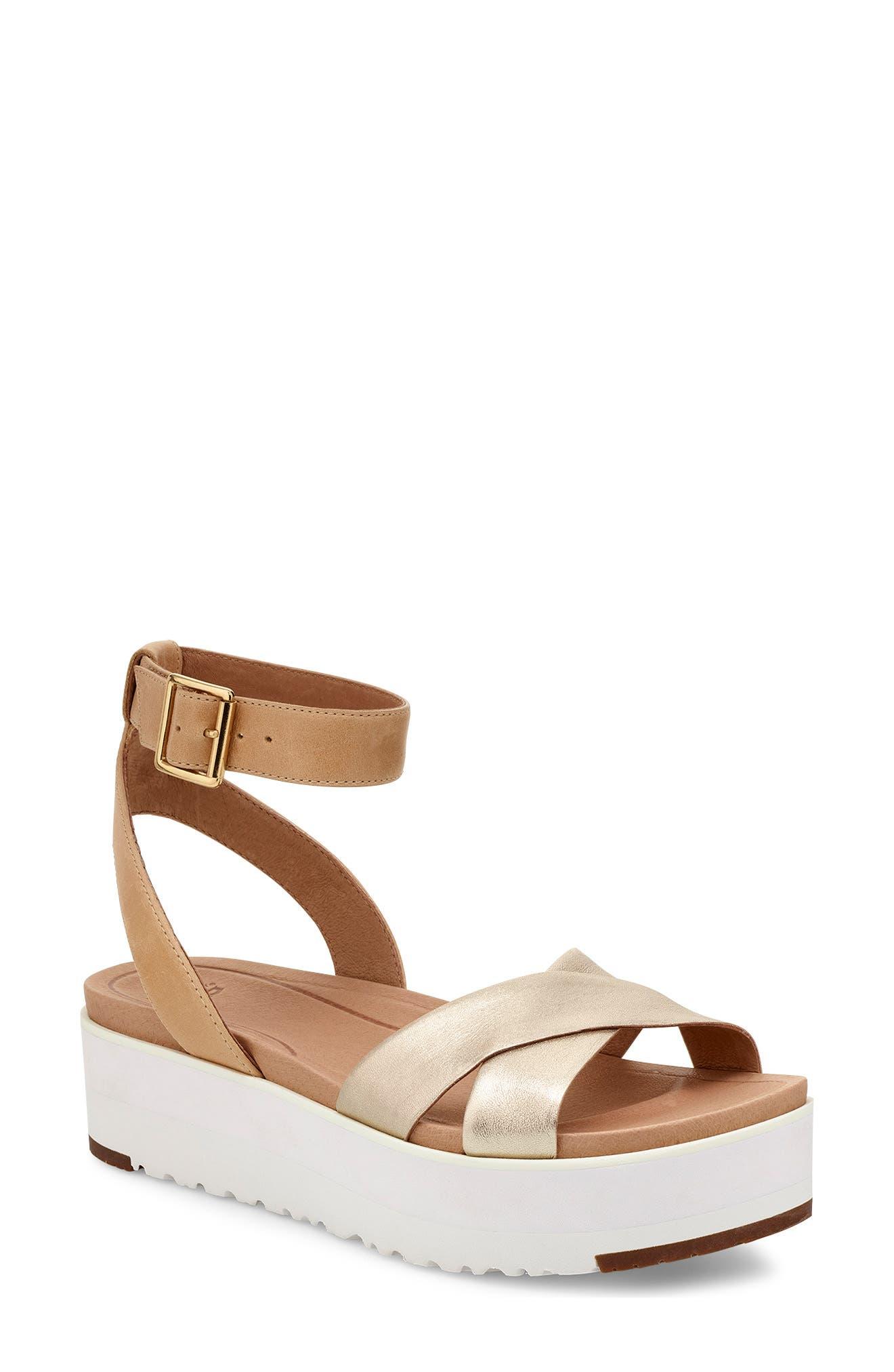Tipton Metallic Platform Sandal, Main, color, GOLD
