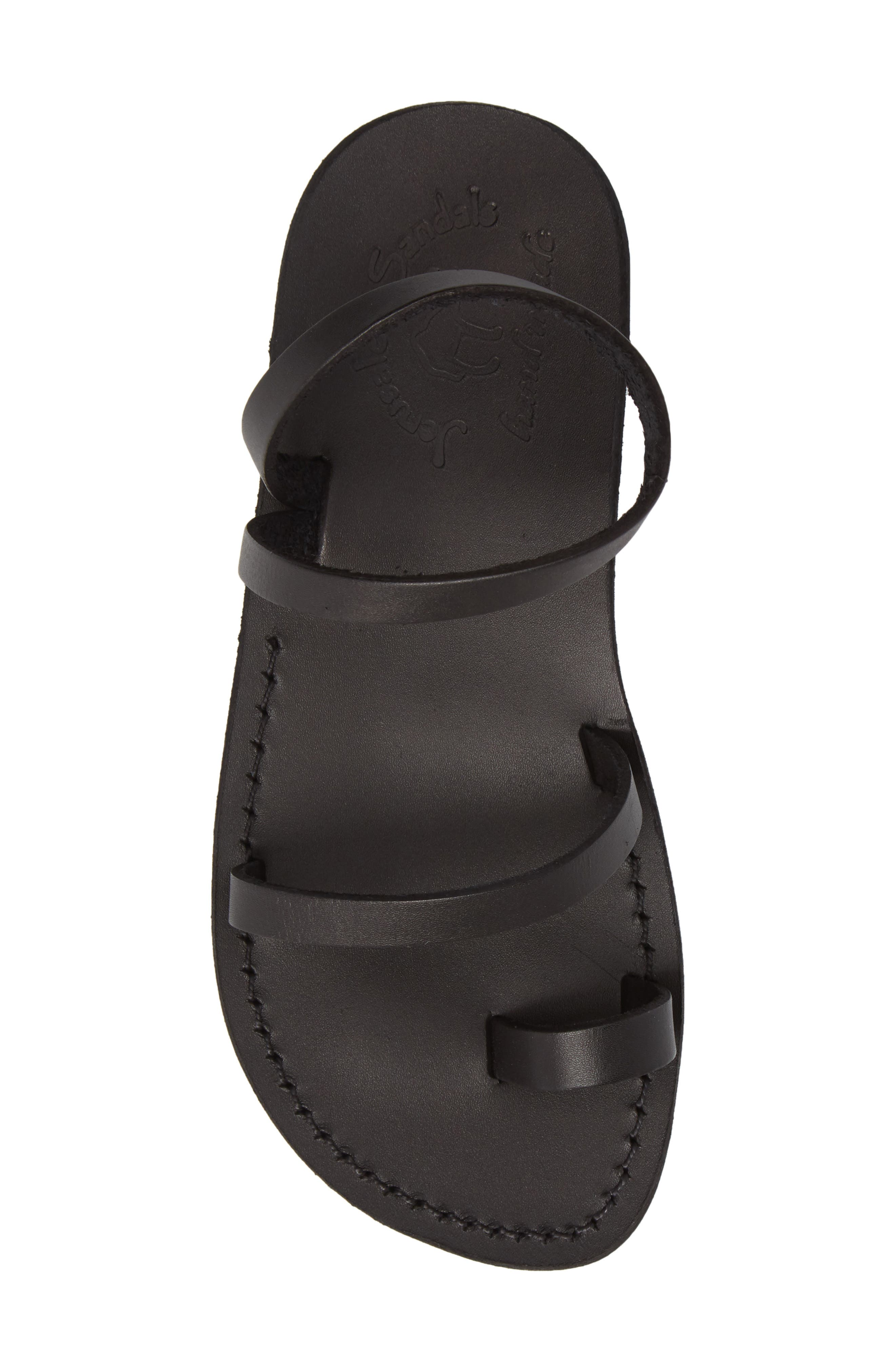 Ella Sandal,                             Alternate thumbnail 5, color,                             BLACK LEATHER