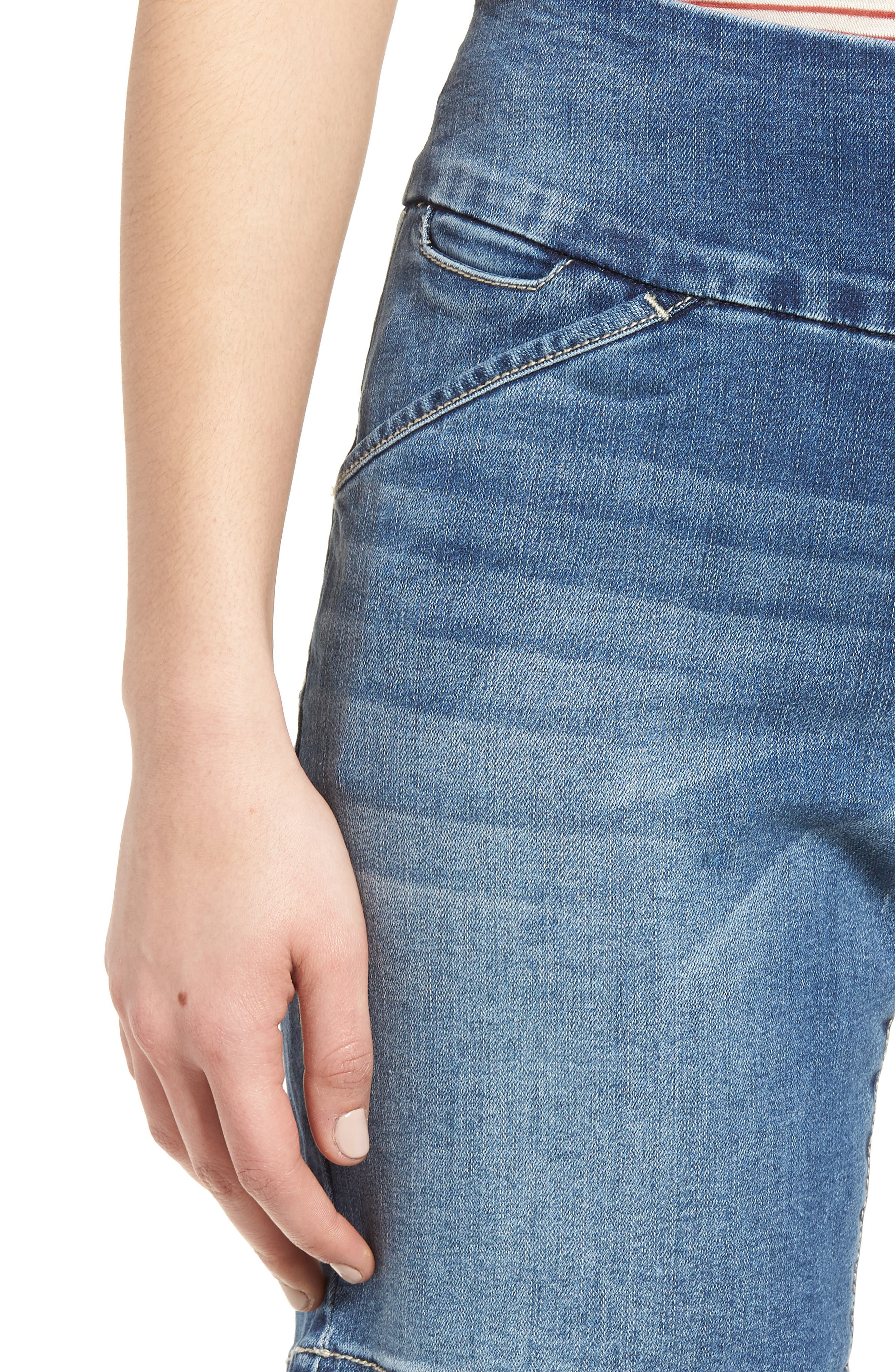 Ainsley Pull-On Stretch Denim Shorts,                             Alternate thumbnail 4, color,                             420