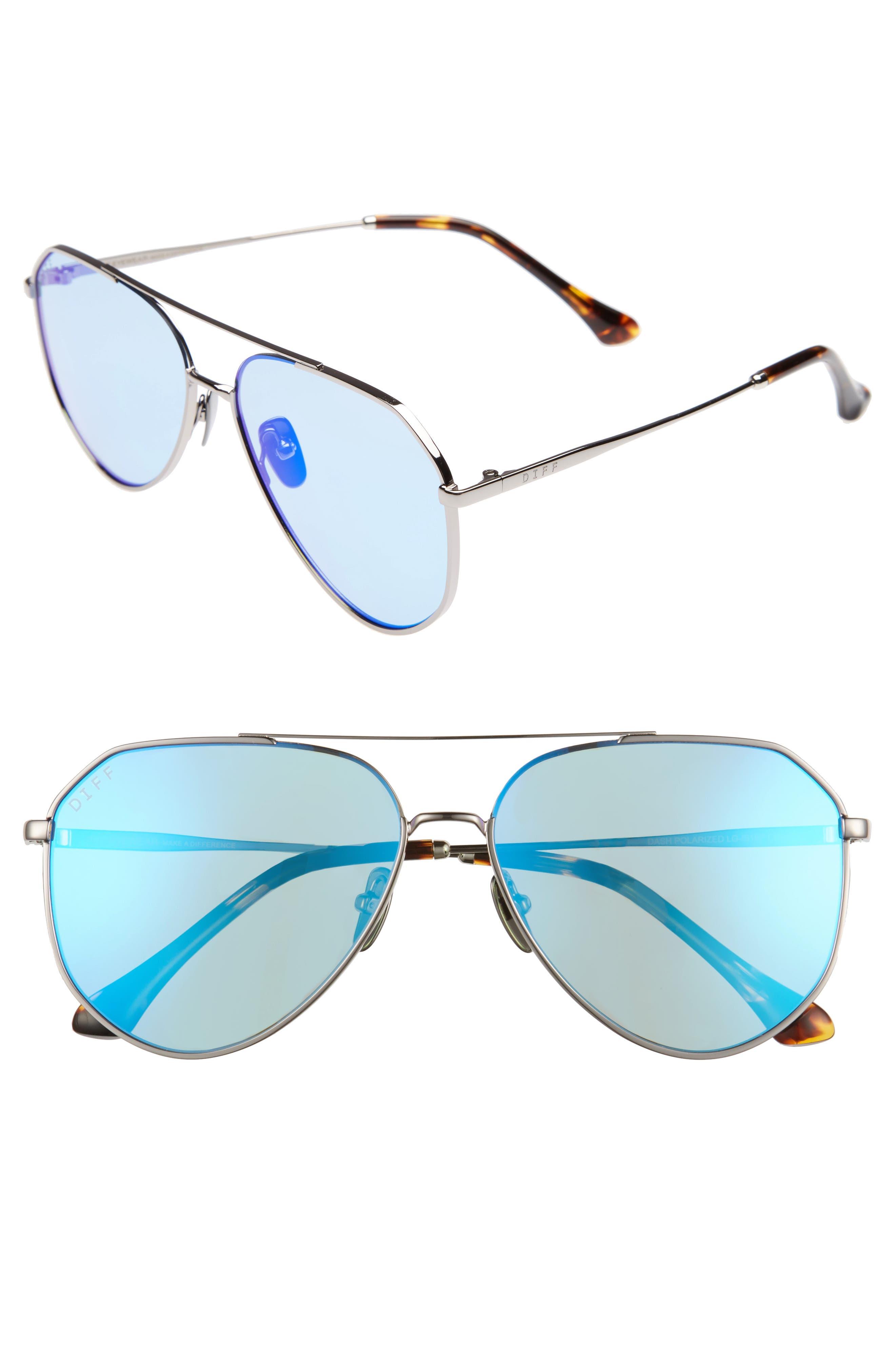 Dash 61mm Polarized Aviator Sunglasses,                             Main thumbnail 1, color,                             GUNMETAL/ ICE BLUE