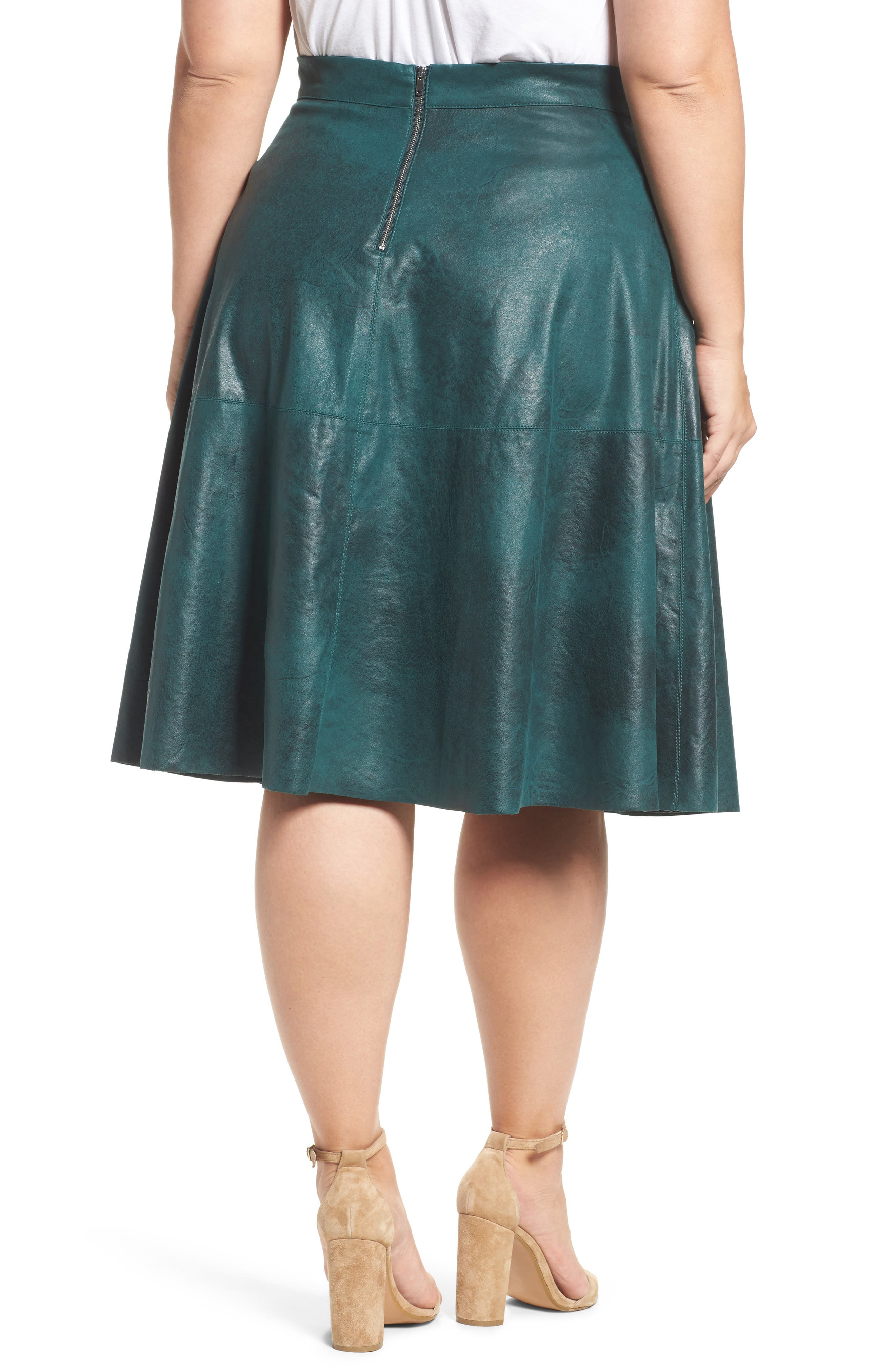 Stretch Faux Leather A-Line Skirt,                             Alternate thumbnail 4, color,