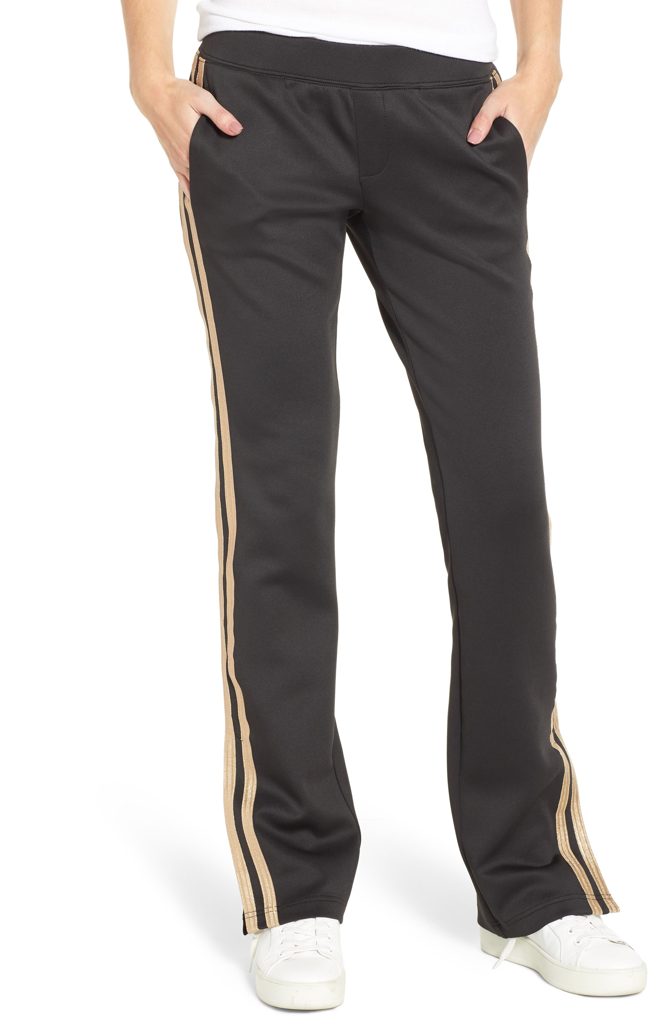 Metallic Stripe Track Pants,                         Main,                         color, BLACK