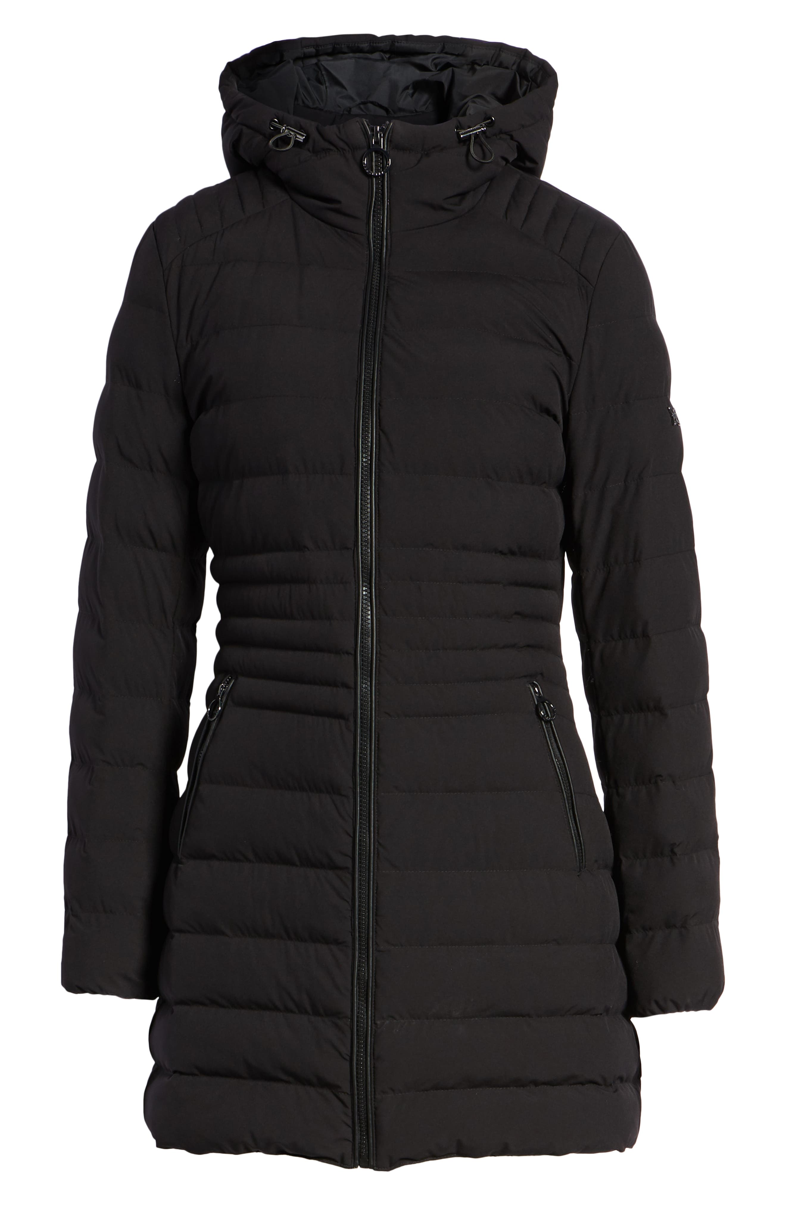 Hooded Down Puffer Coat,                             Alternate thumbnail 6, color,                             BLACK