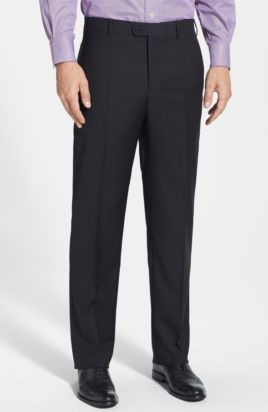 'Devon' Flat Front Wool Trousers,                             Main thumbnail 2, color,