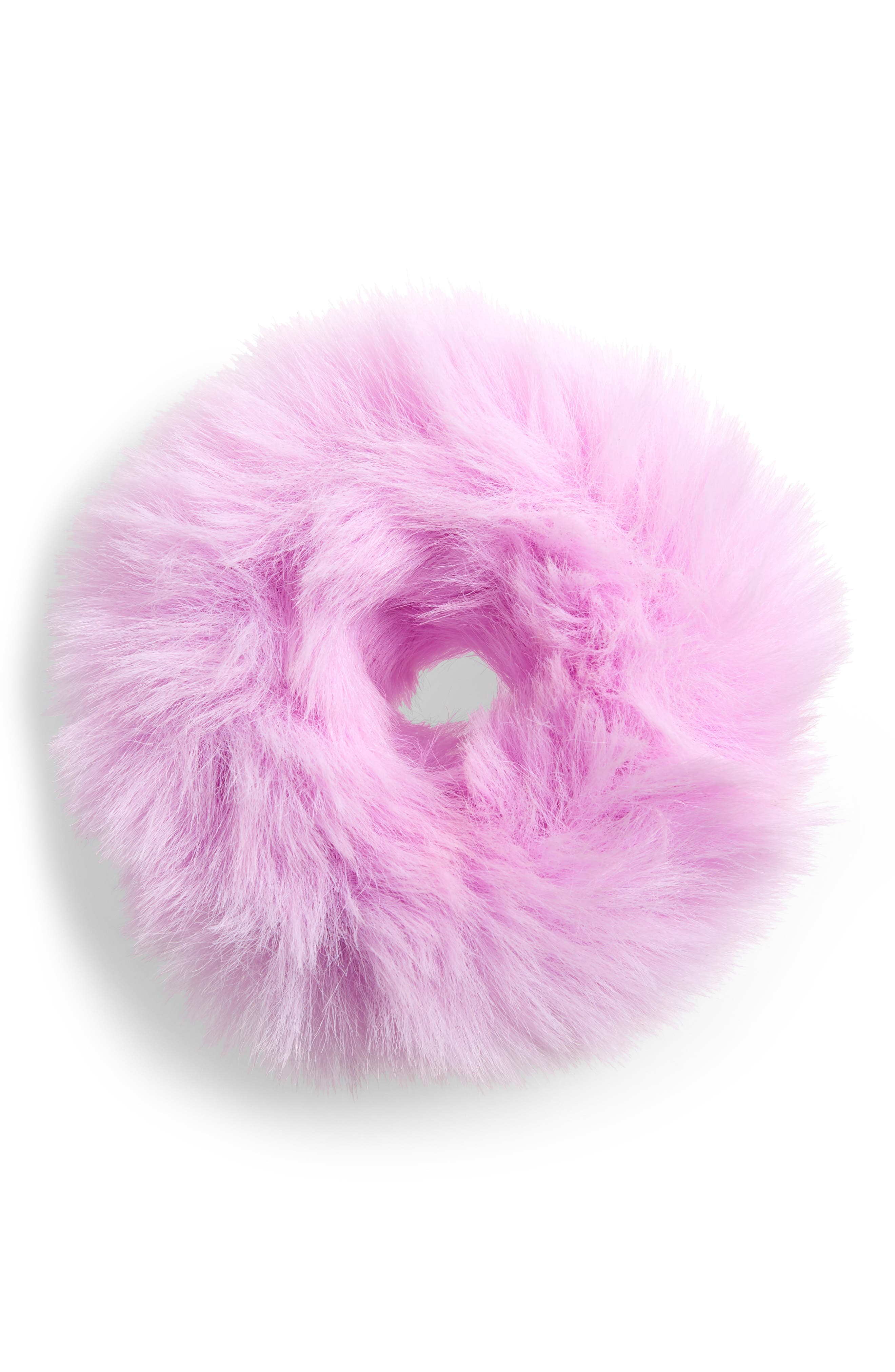 Faux Fur Pontytail Holder,                         Main,                         color, LAVENDER