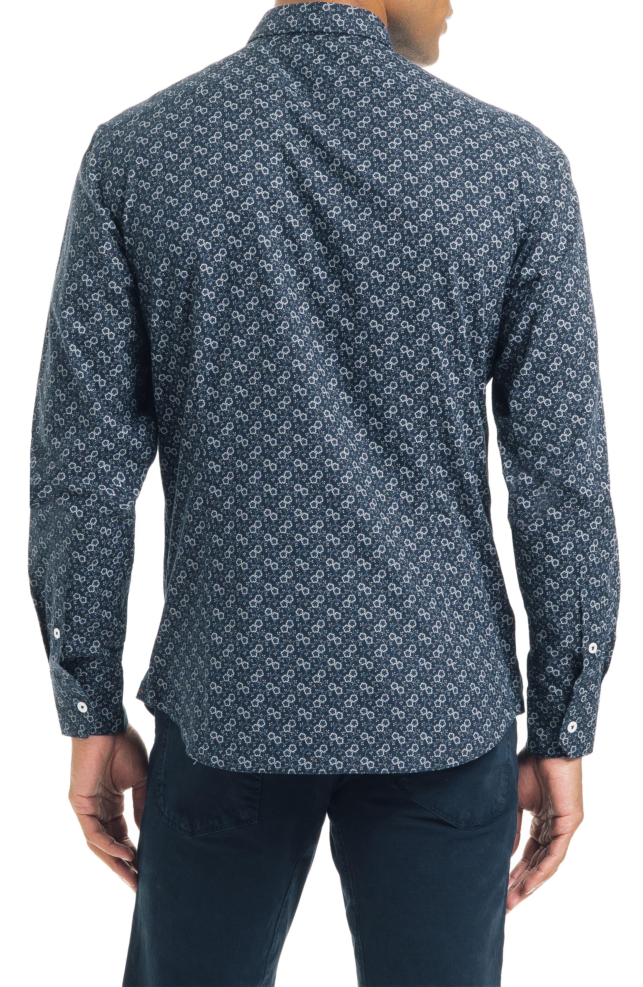 Floral Dot Slim Fit Sport Shirt,                             Alternate thumbnail 2, color,                             NAVY