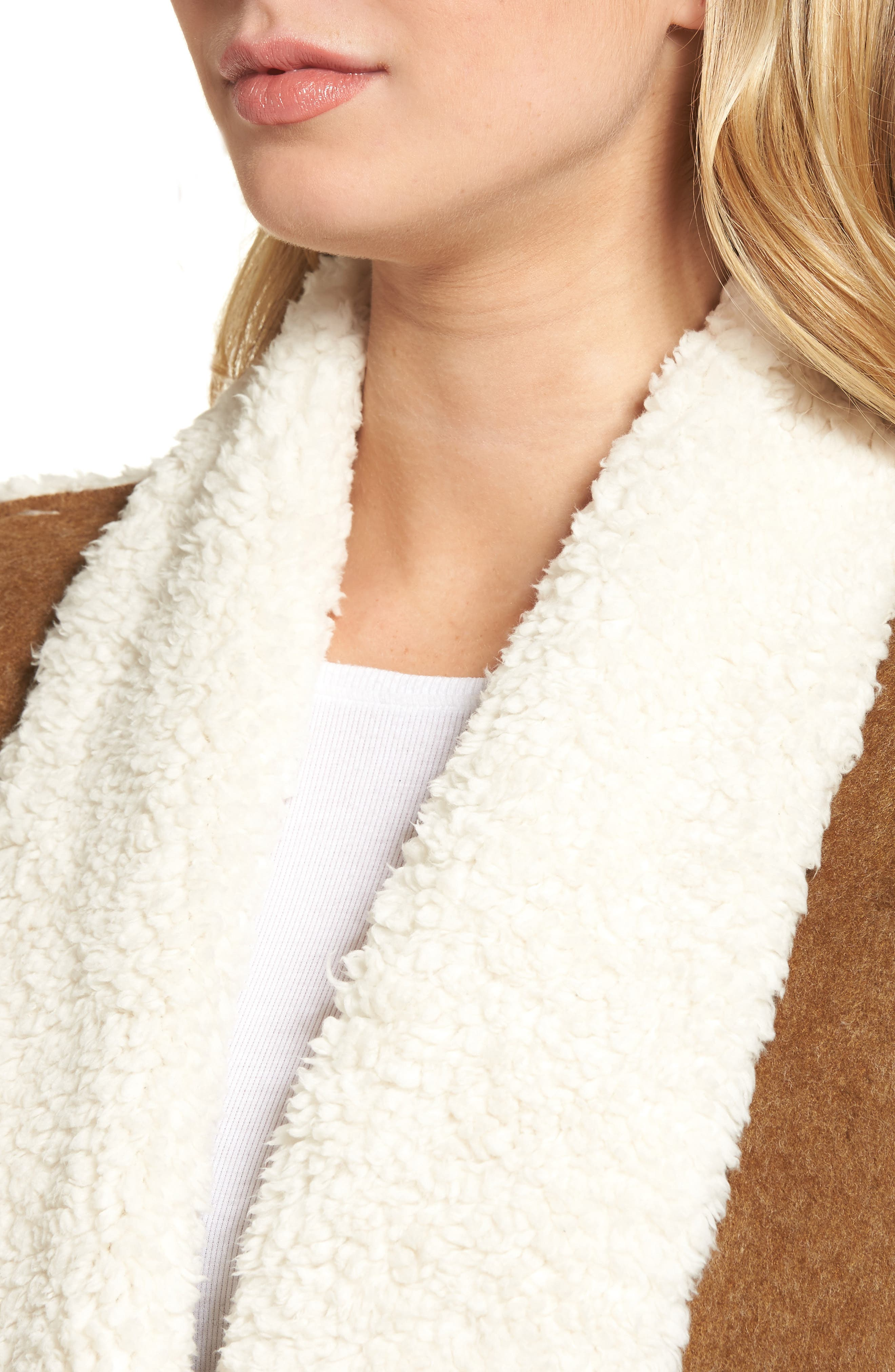 Flannel Faux Shearling Vest,                             Alternate thumbnail 4, color,