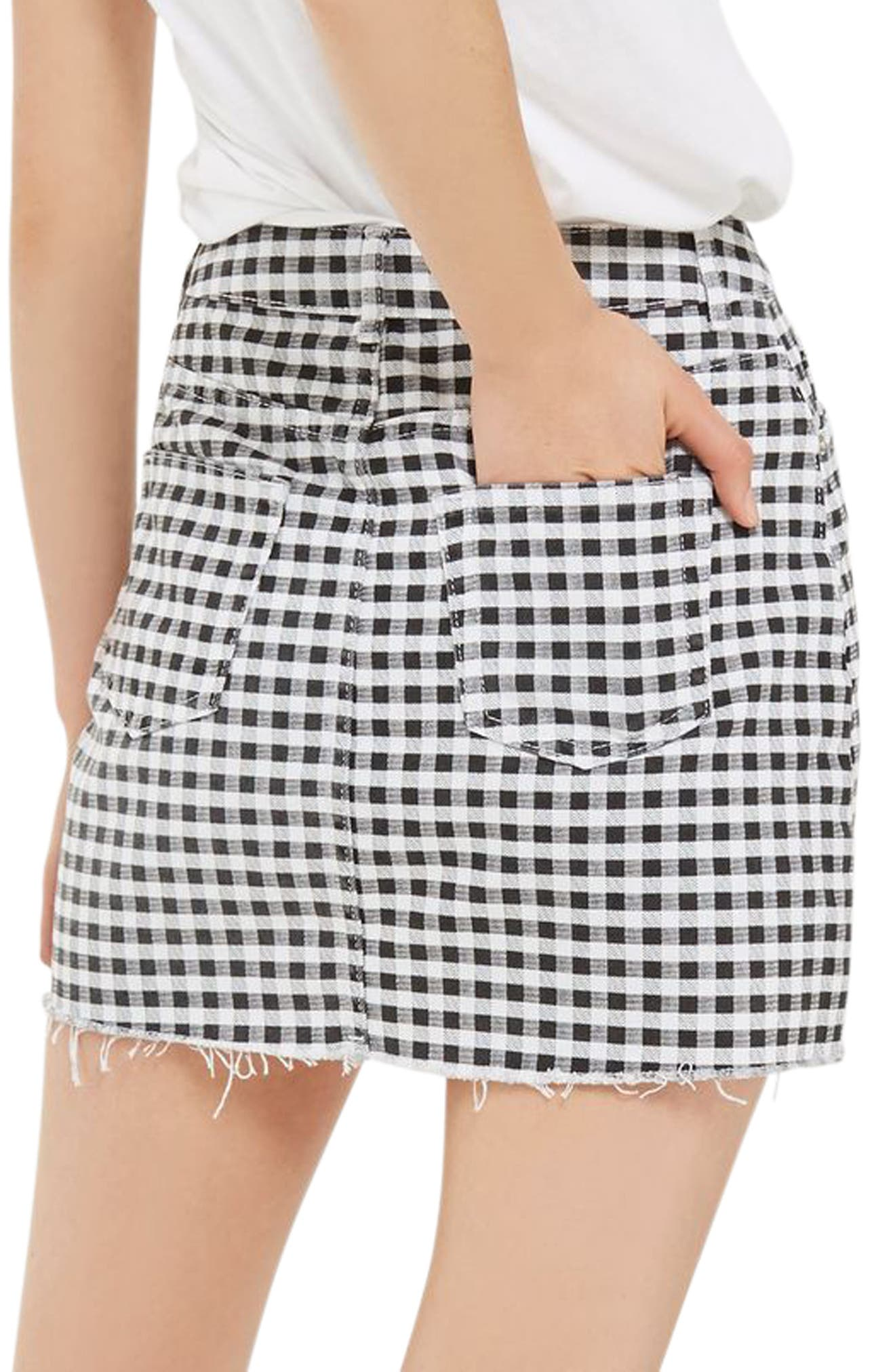 Gingham Miniskirt,                             Alternate thumbnail 2, color,                             001