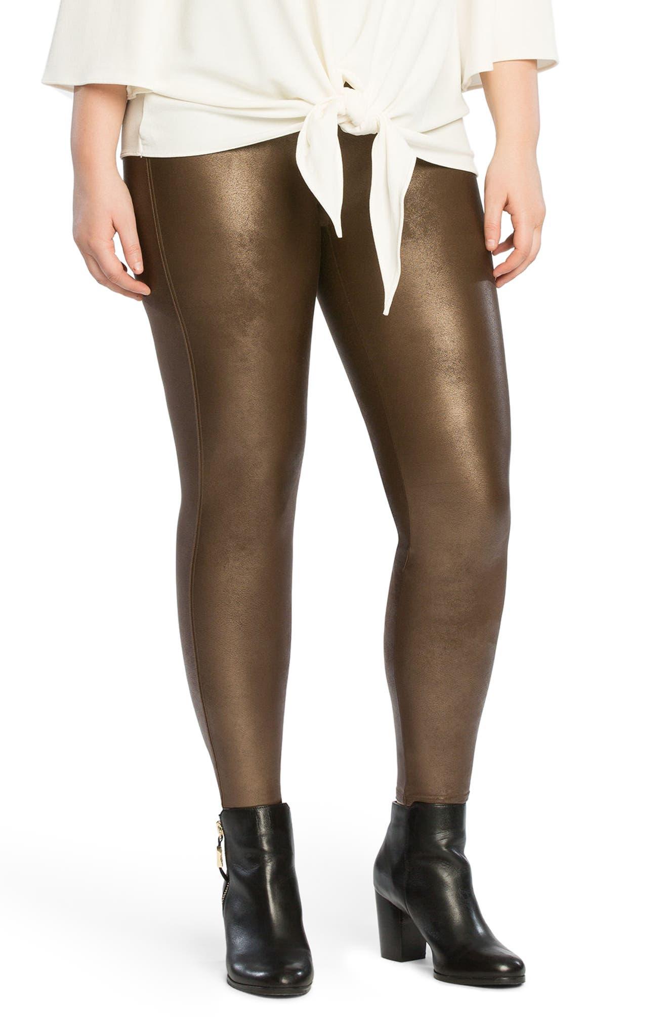 Faux Leather Leggings,                         Main,                         color, BRONZE METAL