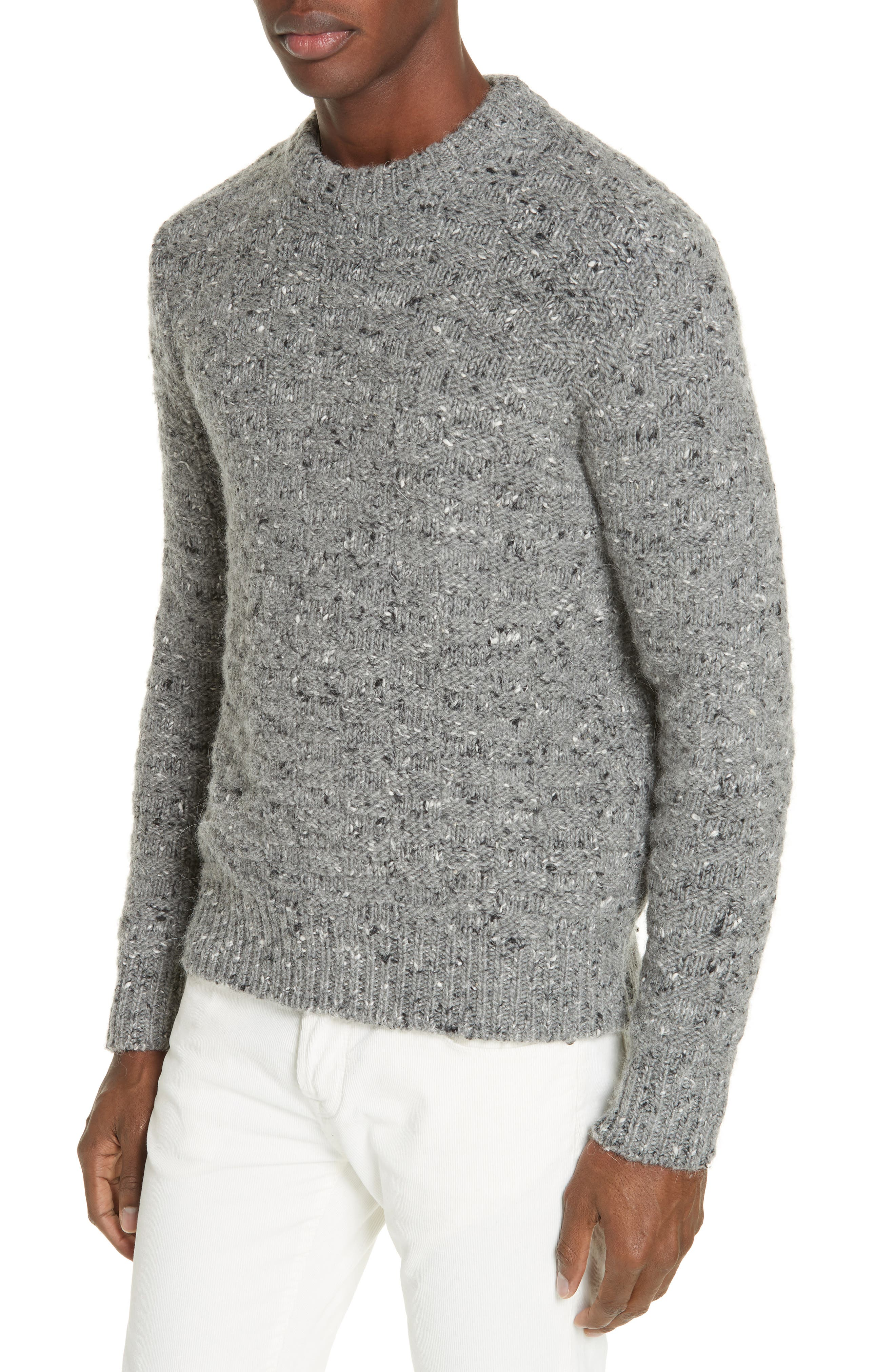 Wool Blend Crewneck Sweater,                             Alternate thumbnail 4, color,                             GREY