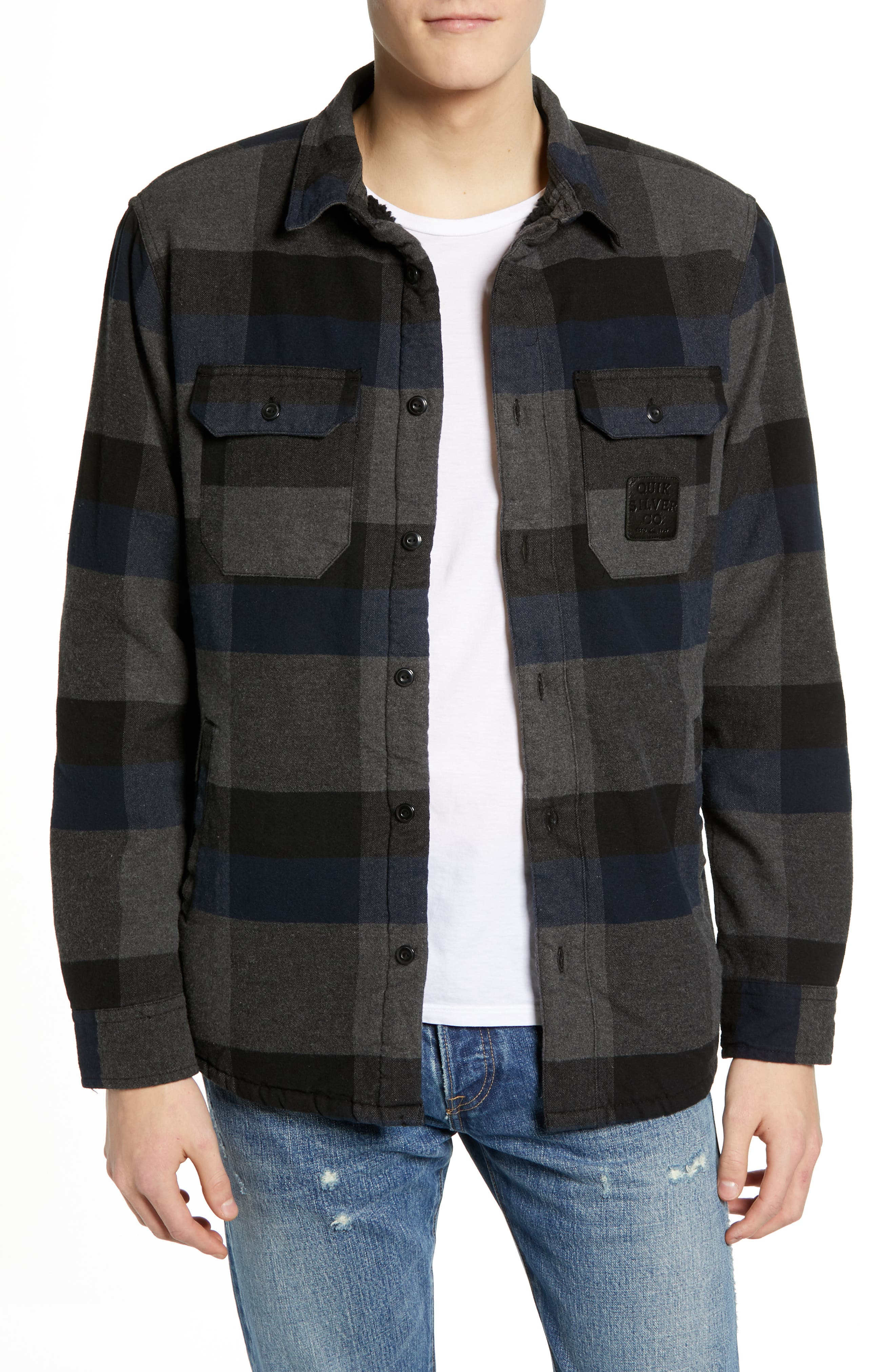 QUIKSILVER Miho Stones Long Sleeve Woven Shirt Jacket in Blue Night Sherpa
