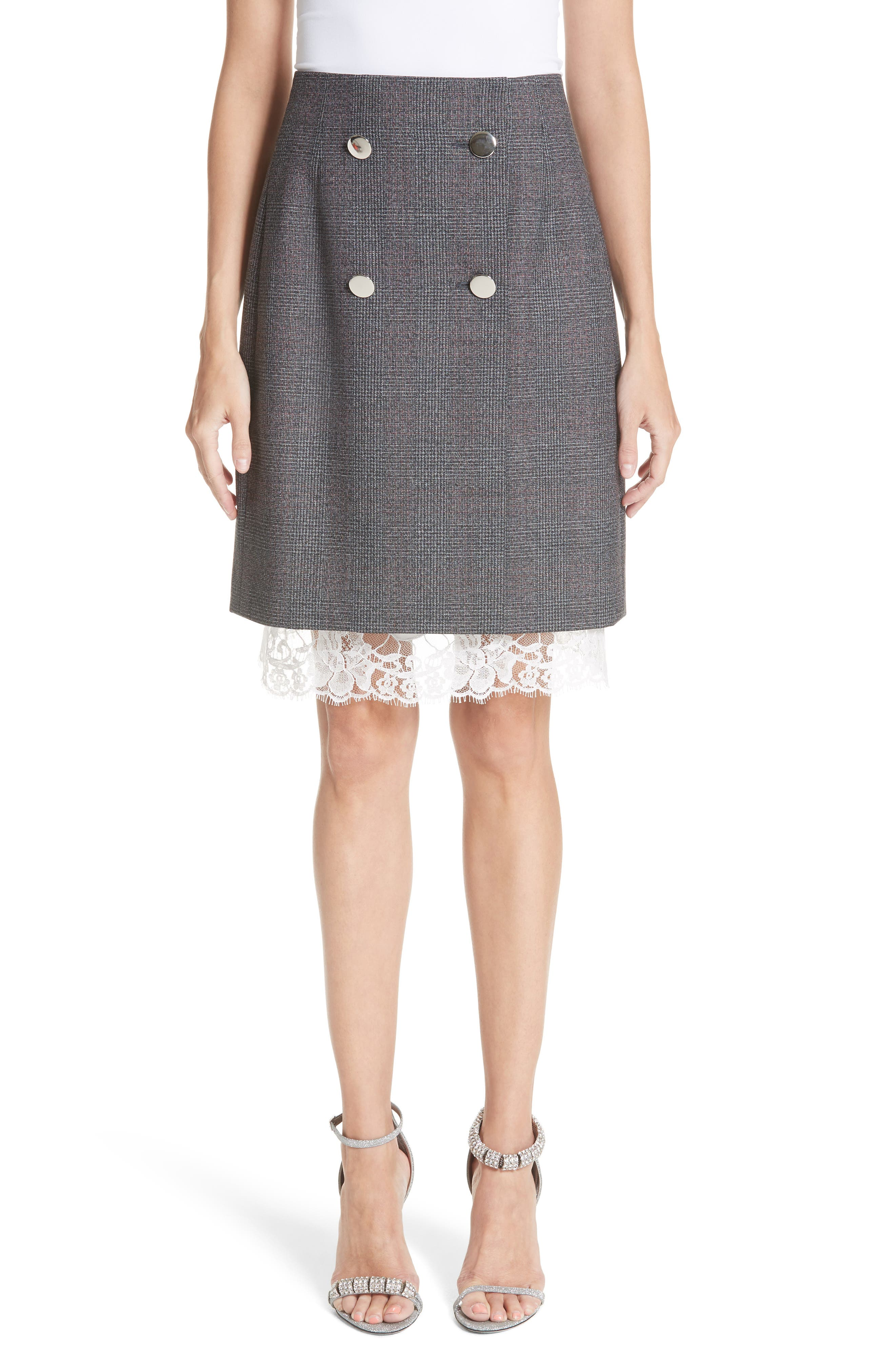 Lace Trim Wool Skirt,                             Main thumbnail 1, color,                             DARK GREY GRENADINE