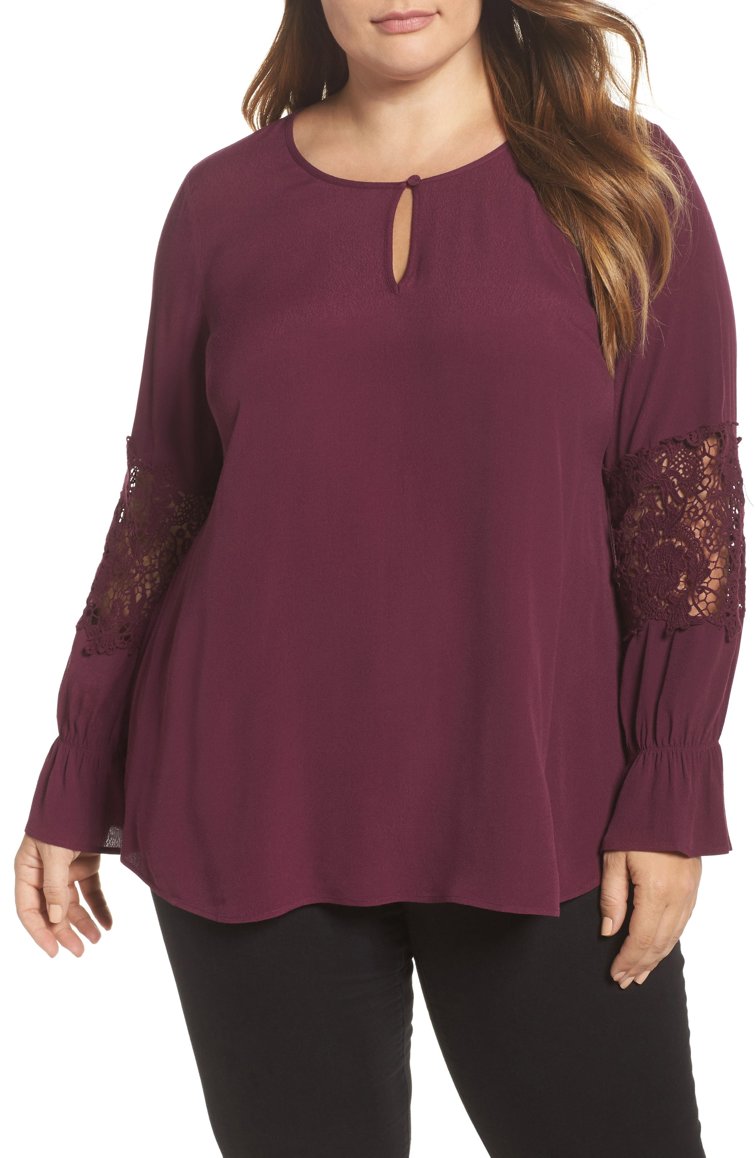 Bell Sleeve Lace Top,                             Main thumbnail 2, color,