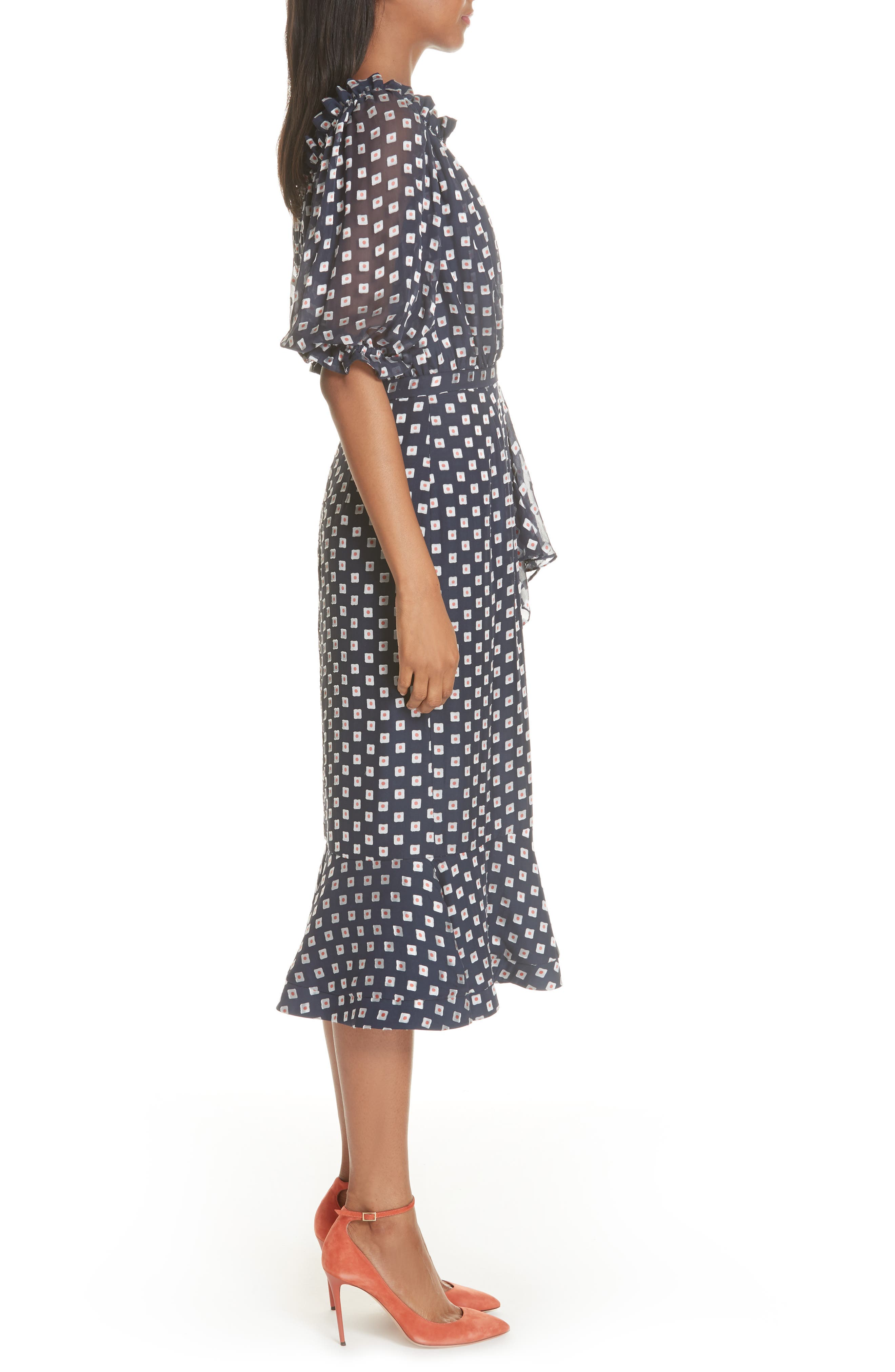 Olivia Silk Blend Midi Dress,                             Alternate thumbnail 3, color,                             410