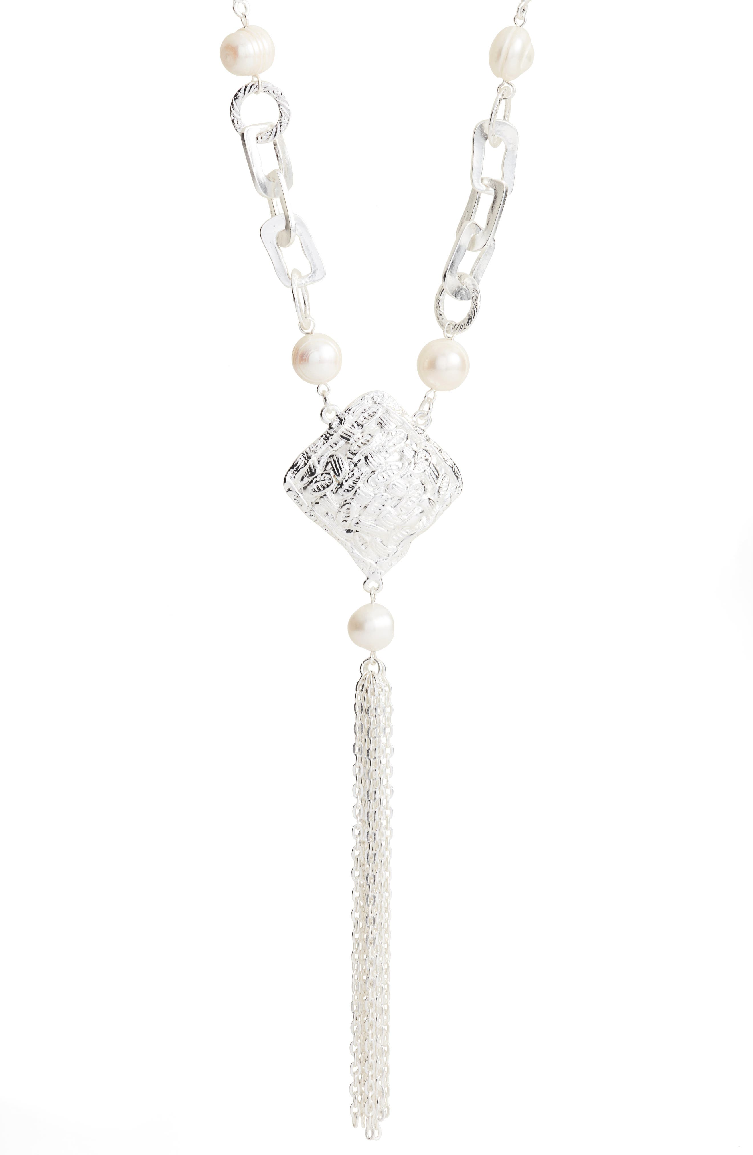 KARINE SULTAN,                             Long Y-Necklace,                             Alternate thumbnail 2, color,                             SILVER
