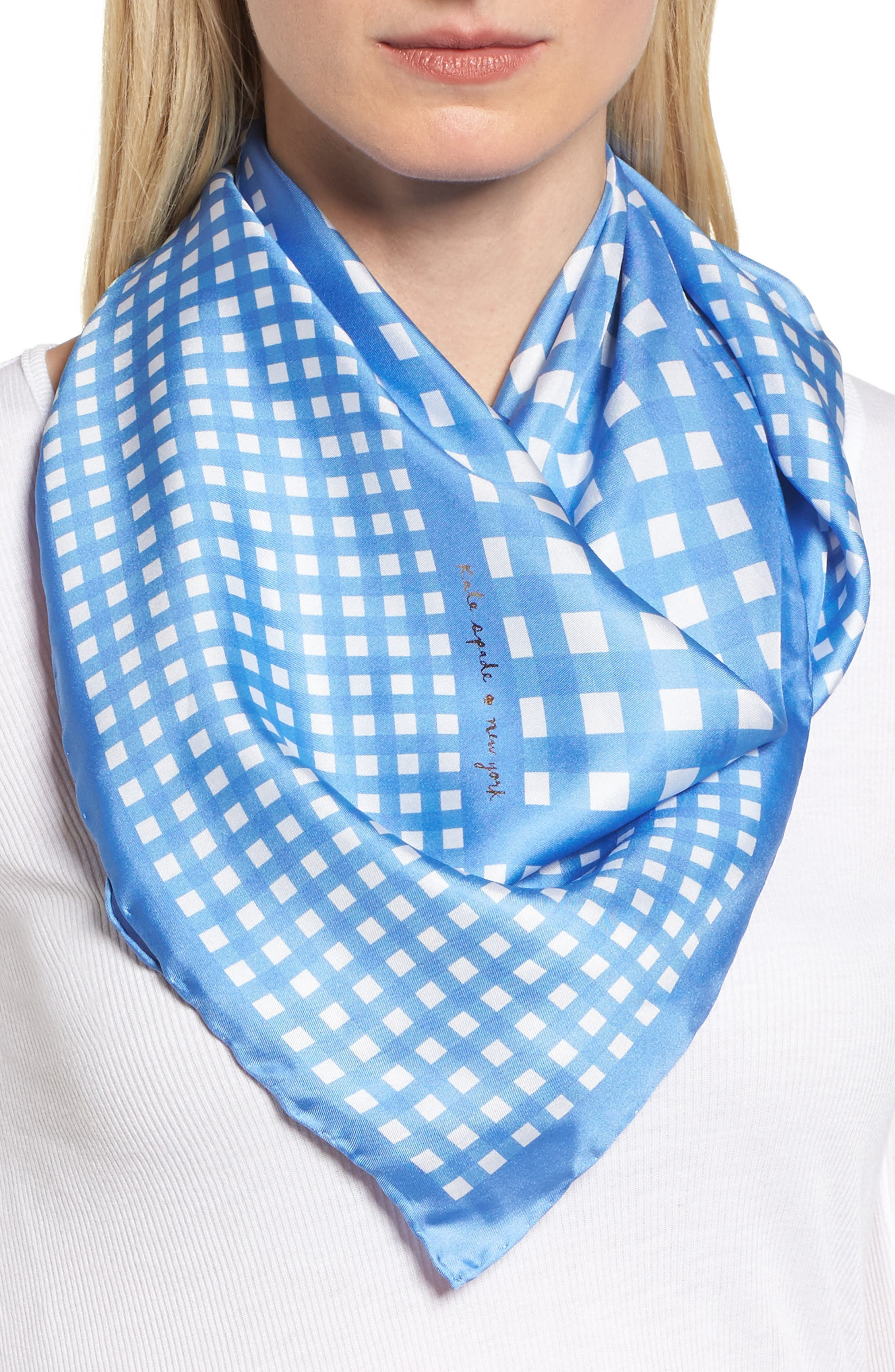 gingham square silk scarf,                         Main,                         color, 400