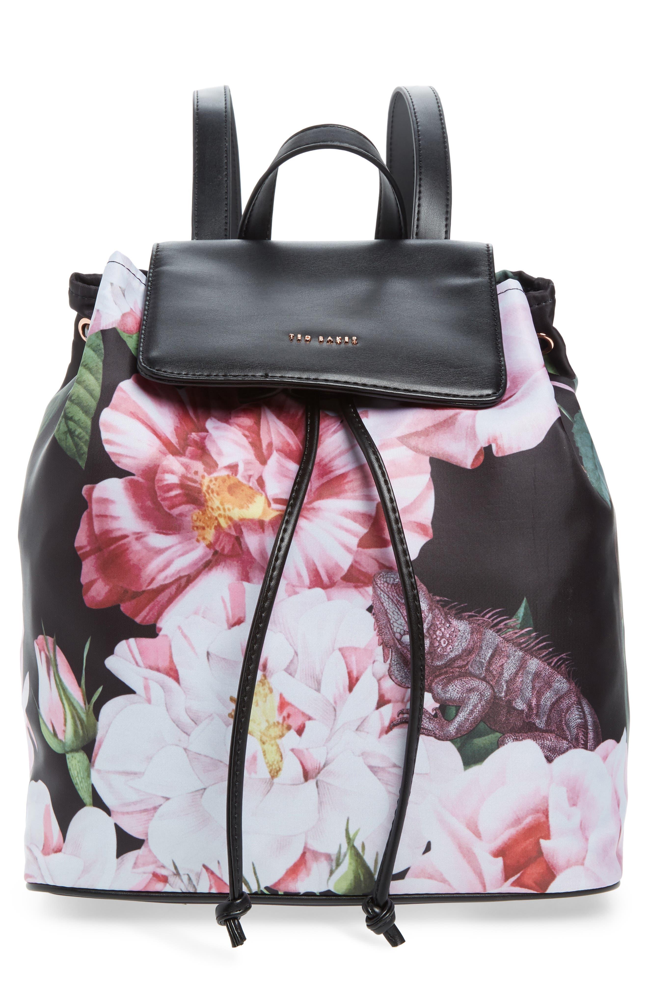 Jullie Iguazu Print Nylon Backpack,                         Main,                         color, BLACK