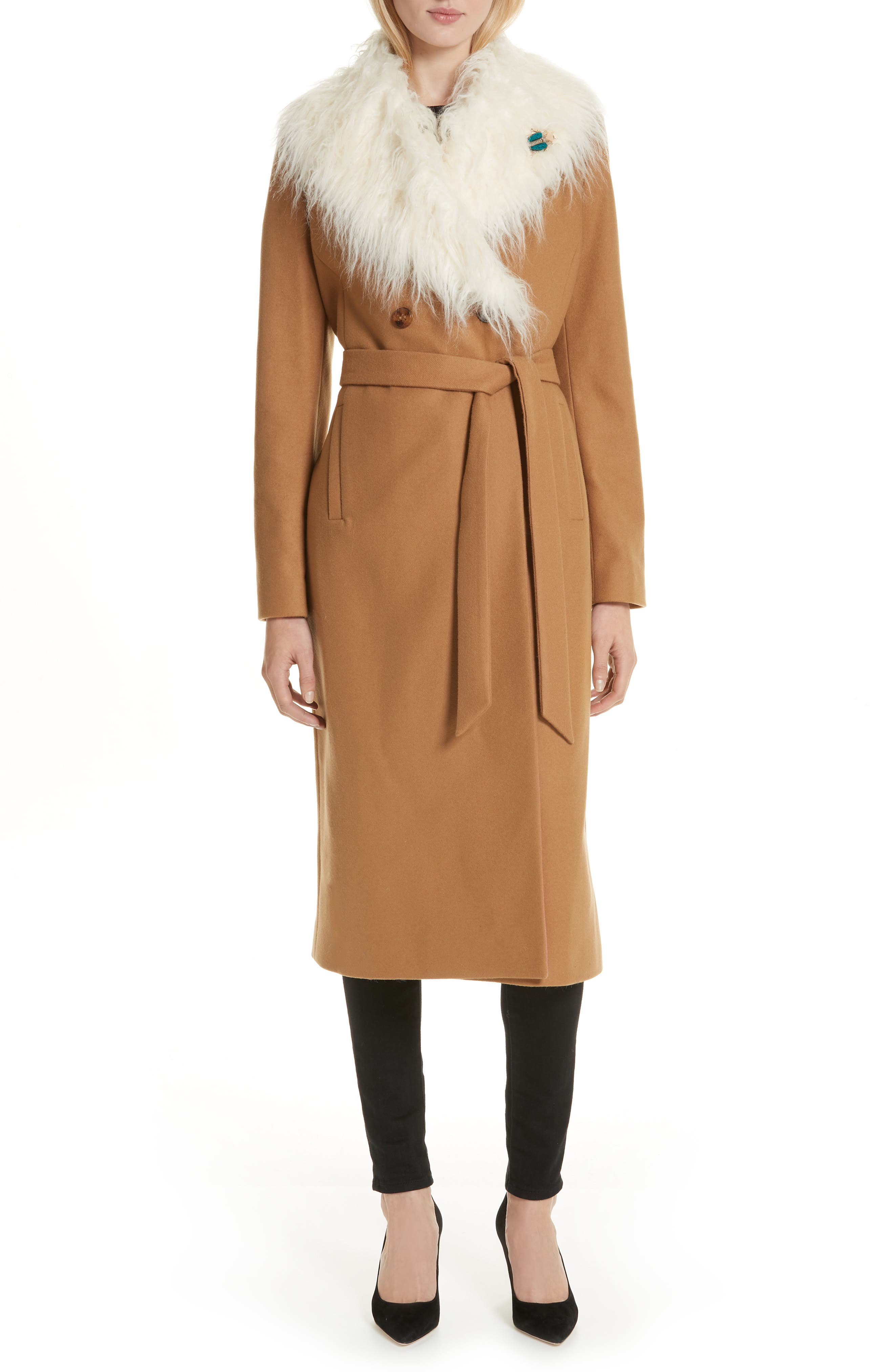 Colour by Numbers Alcaza Wool Coat with Removable Faux Fur Collar,                             Main thumbnail 1, color,                             257
