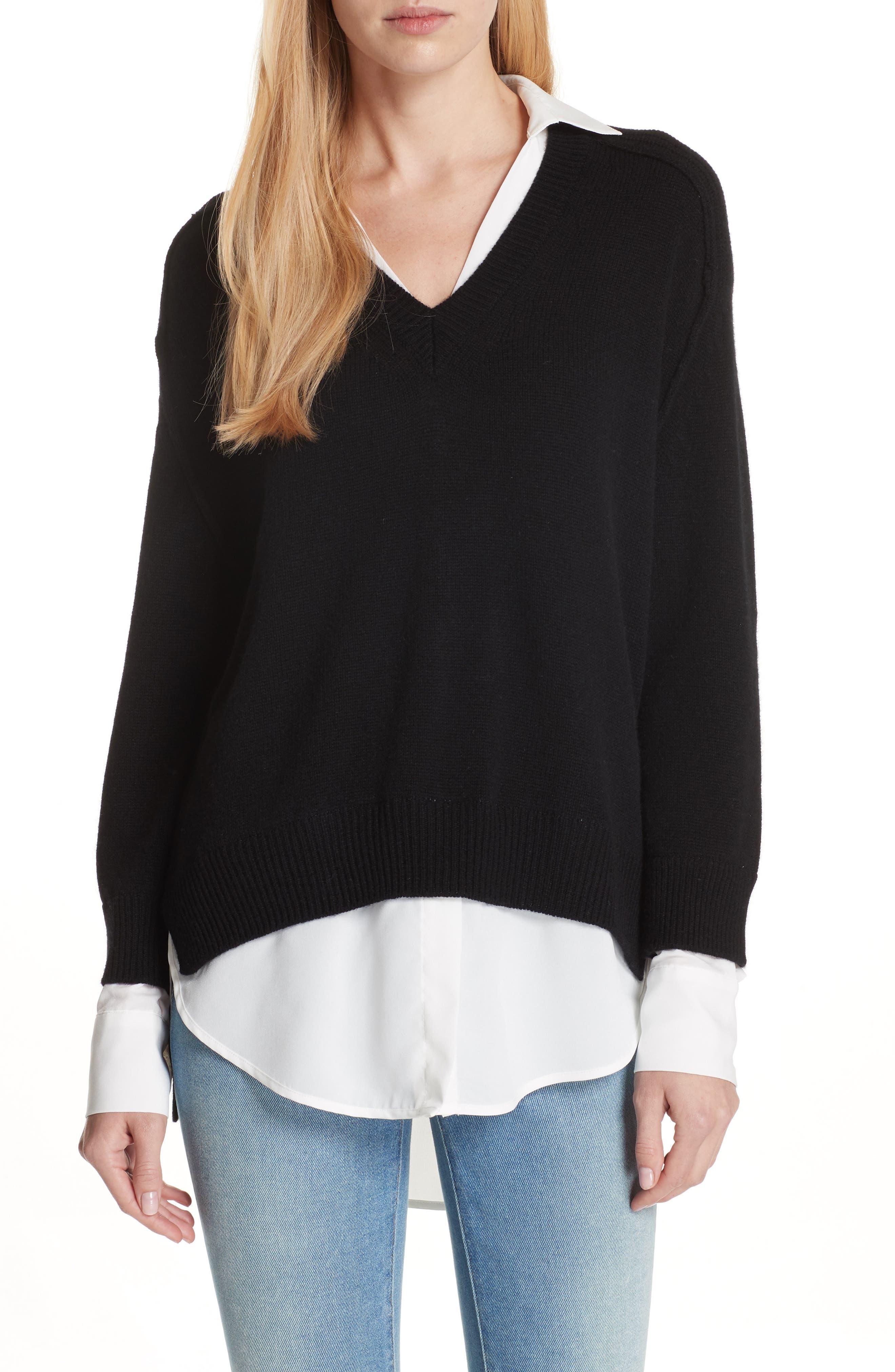 V-Neck Layered Pullover,                         Main,                         color, BLACK ONYX