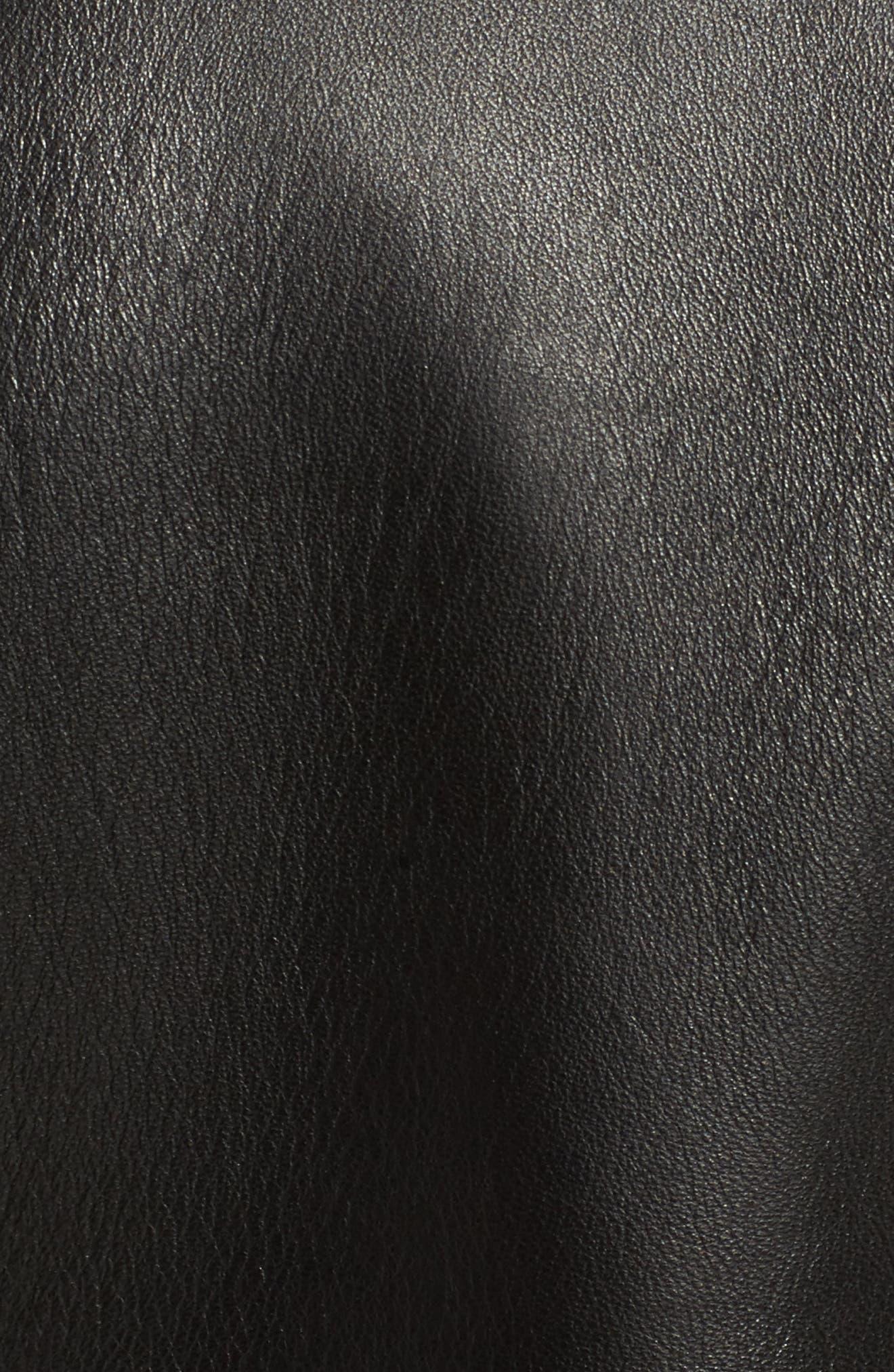 SCHOTT NYC,                             Crop Leather Jacket,                             Alternate thumbnail 5, color,                             001