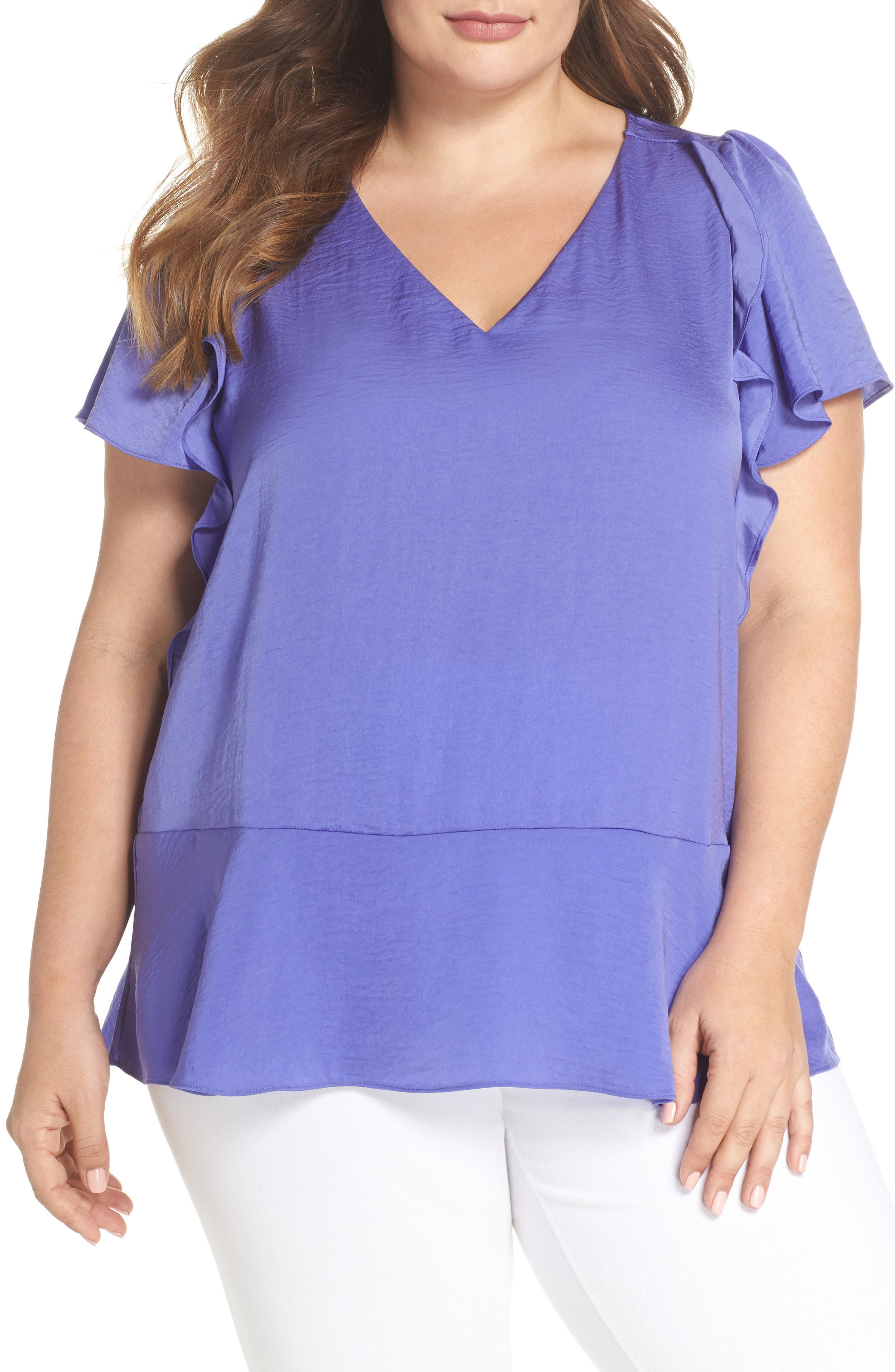Double Ruffle Hammered Satin Top,                         Main,                         color,